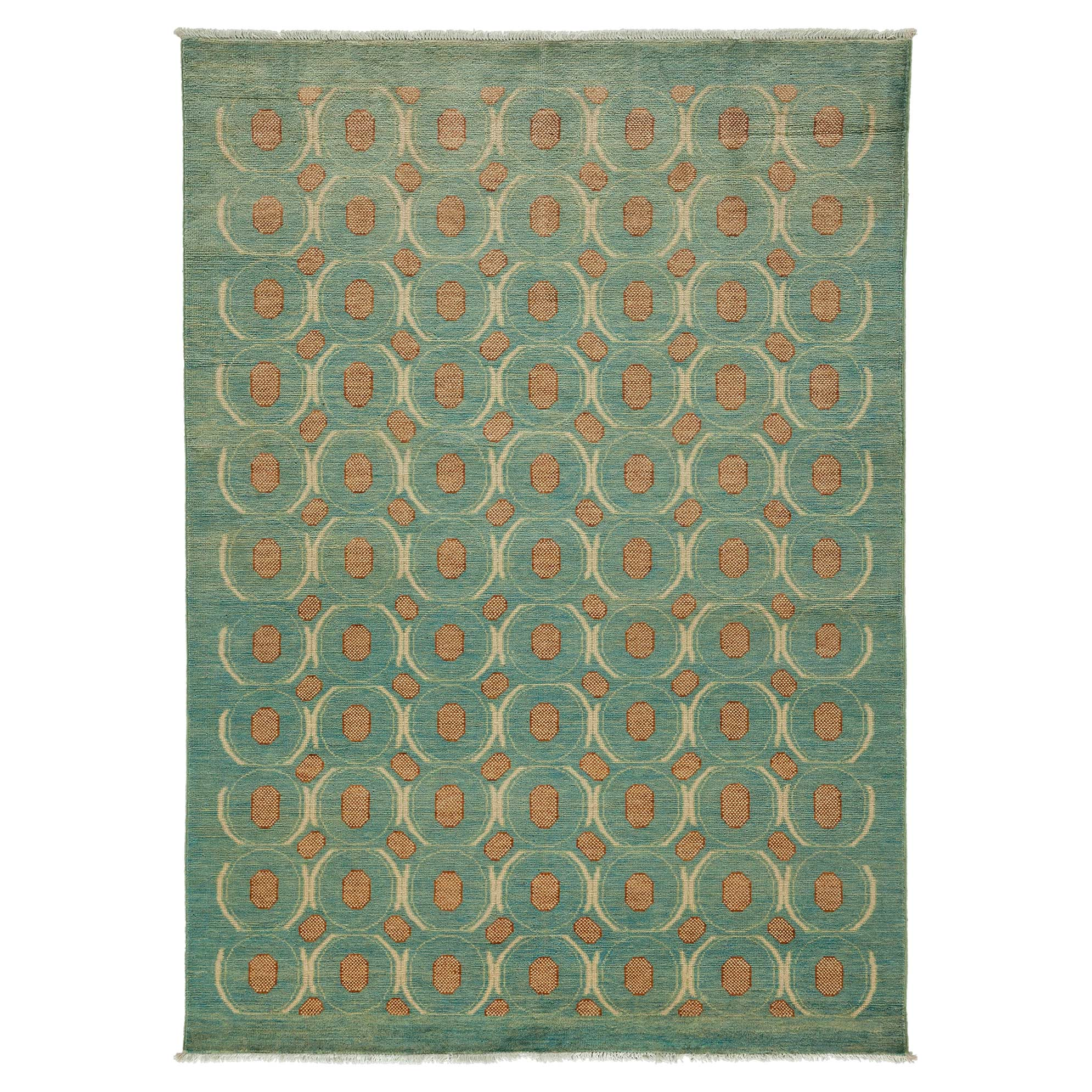 Neo Global Modern Blotted Blue Wool Rug - 5'2 x 7'1