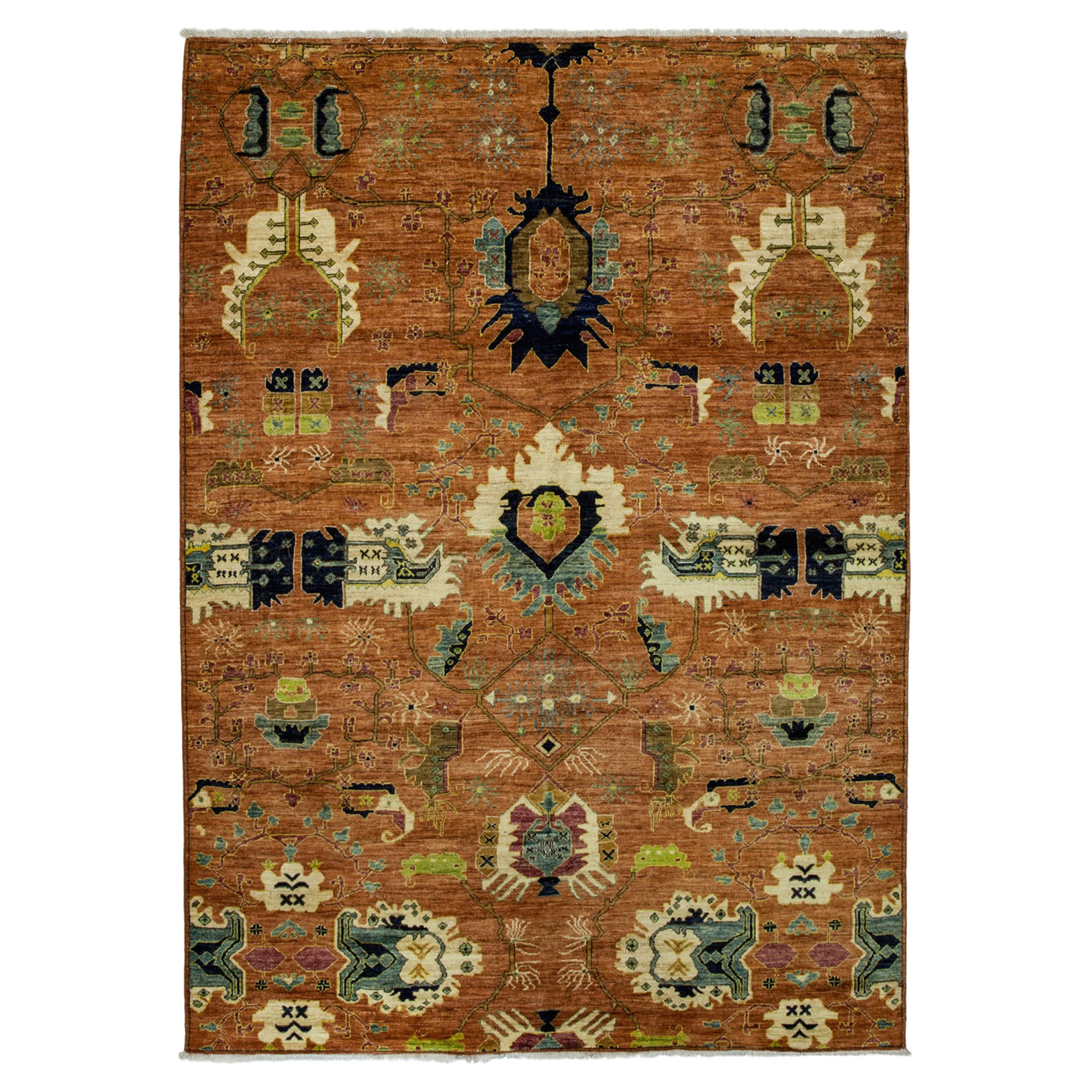 Shamir Global Antique Red Traditional Wool Rug - 6'4 x 9