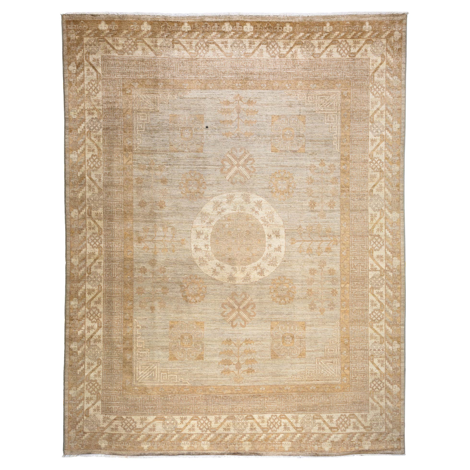 Cain French Country Brown Antique Wool Rug - 9'1 x 11'6