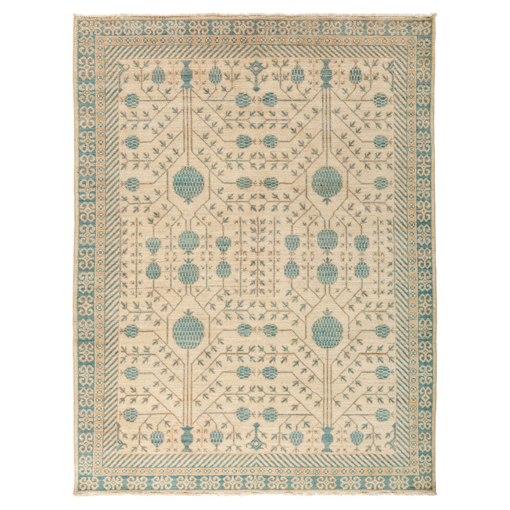 Lito French Country Blue Vine Wool Rug - 5'4 x 6'10