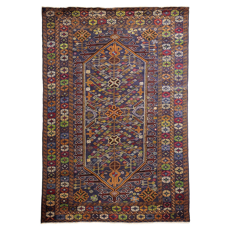 Faldo Bazaar Bold Navy Tribal Wool Rug - 6'10 x 10'1