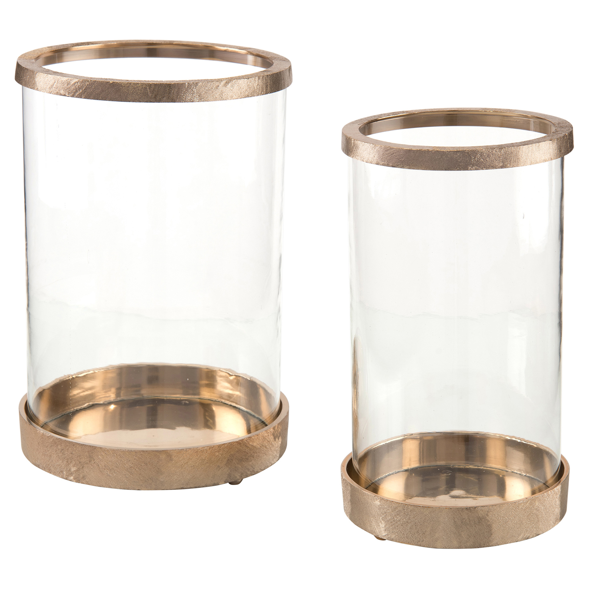 Loft Hammered Gold Glass Hurricanes - Pair