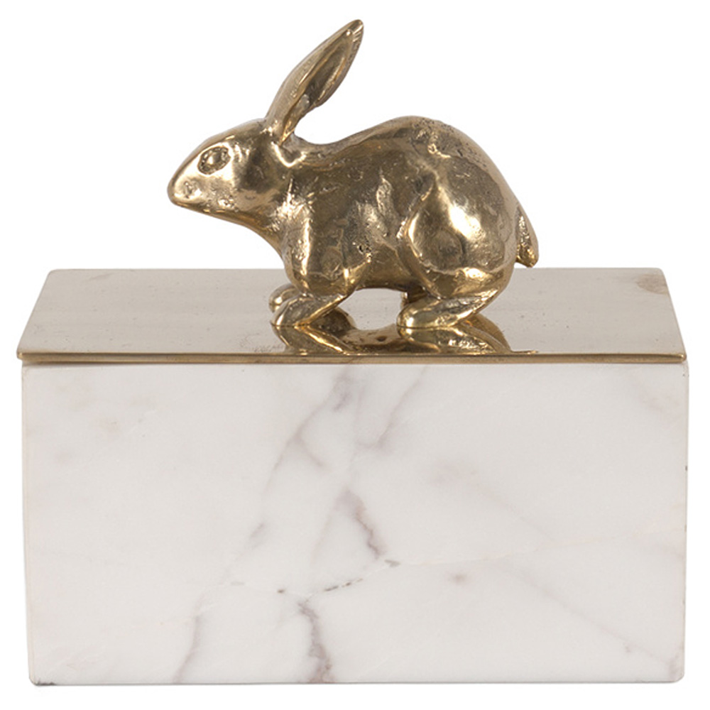 Peter Rabbit Gold White Marble Decorative Box