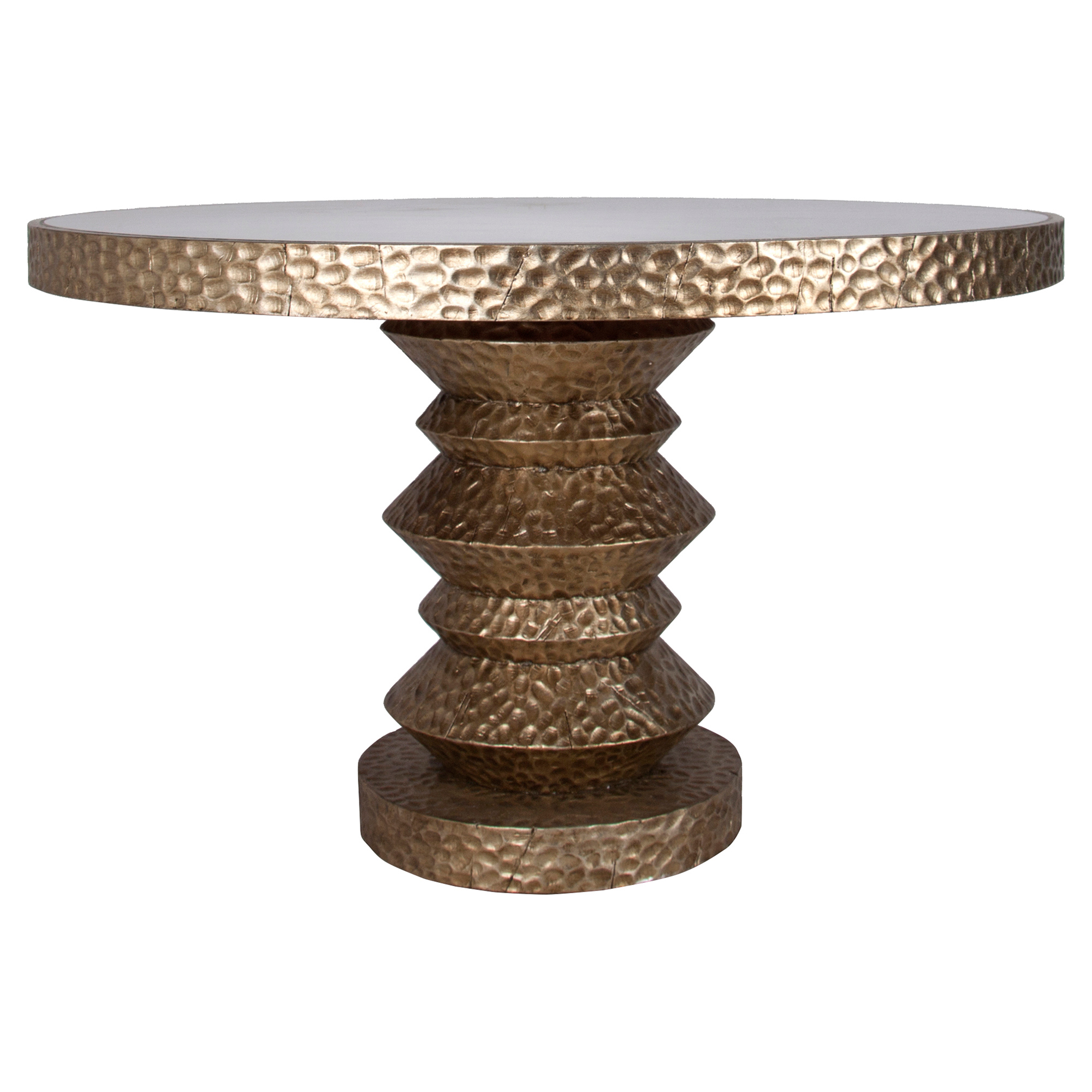 Bimini Global Antique Silver Round Dining Table