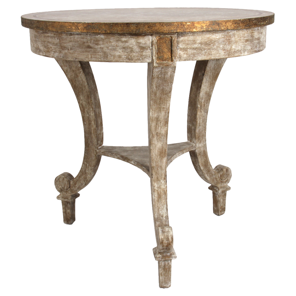 Sayer French Rustic Gilt Ivory Wood End Table
