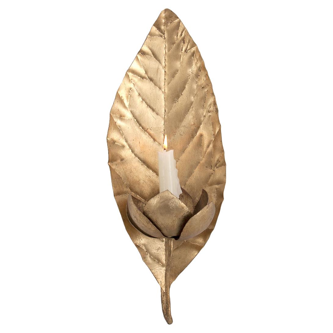 Frond Regency Gold Leaf Candle Sconce