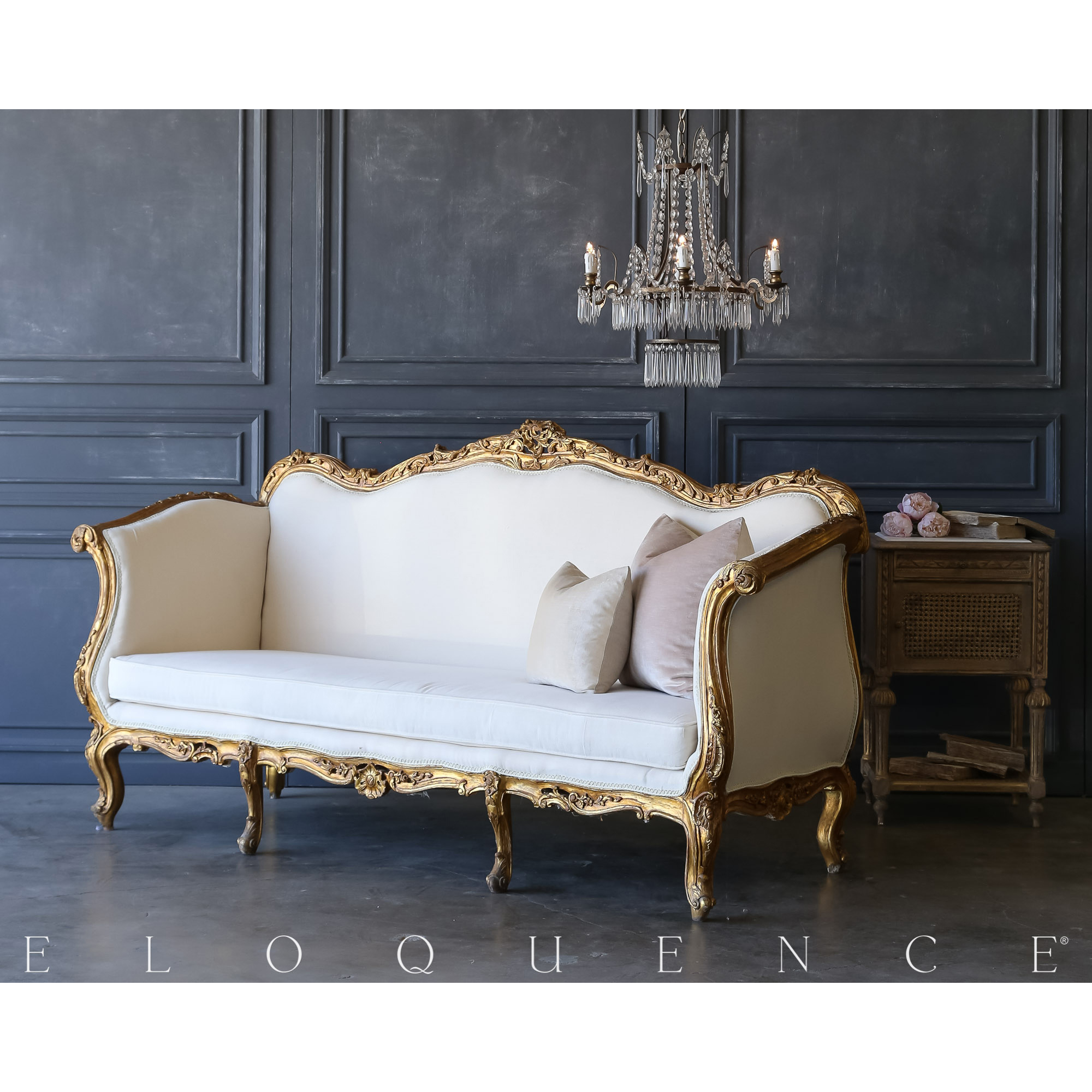 Eloquence® Vintage Carved Gold Canvas Daybed: 1940