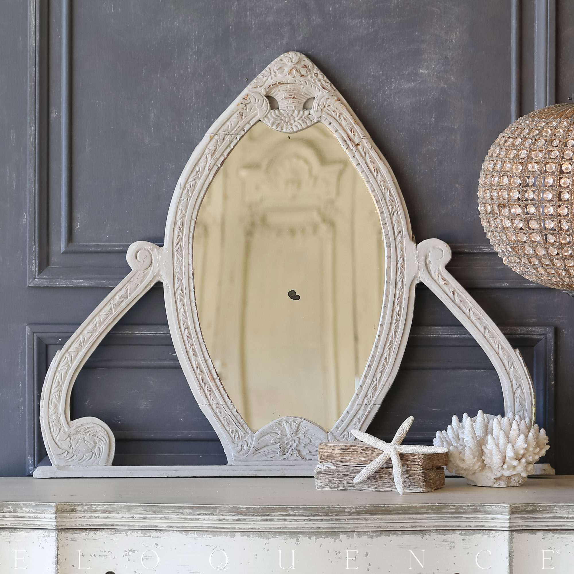 Eloquence® Vintage Carved Grey Almond Mirror: 1940