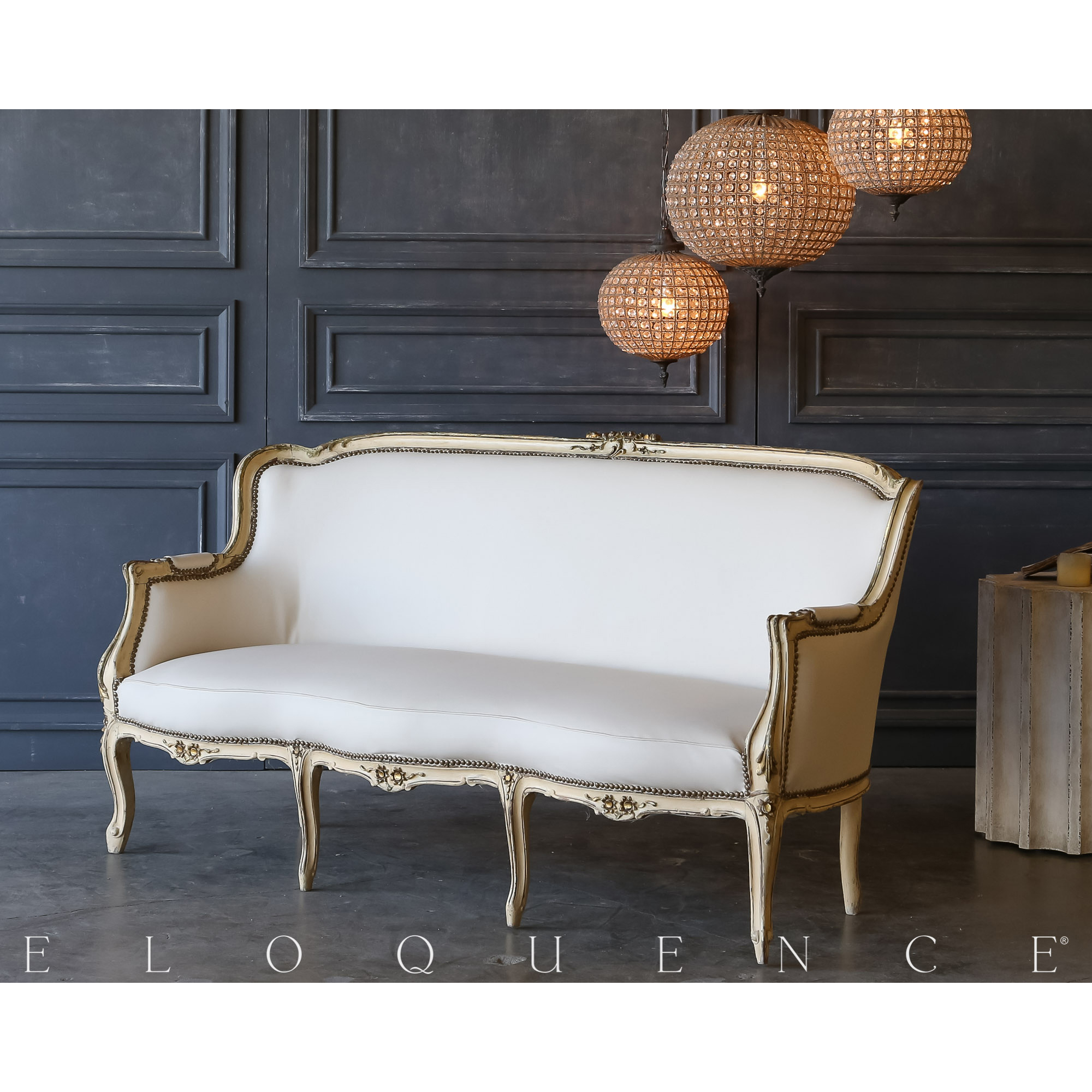 Eloquence® Vintage Cream Louis XV Settee: 1940