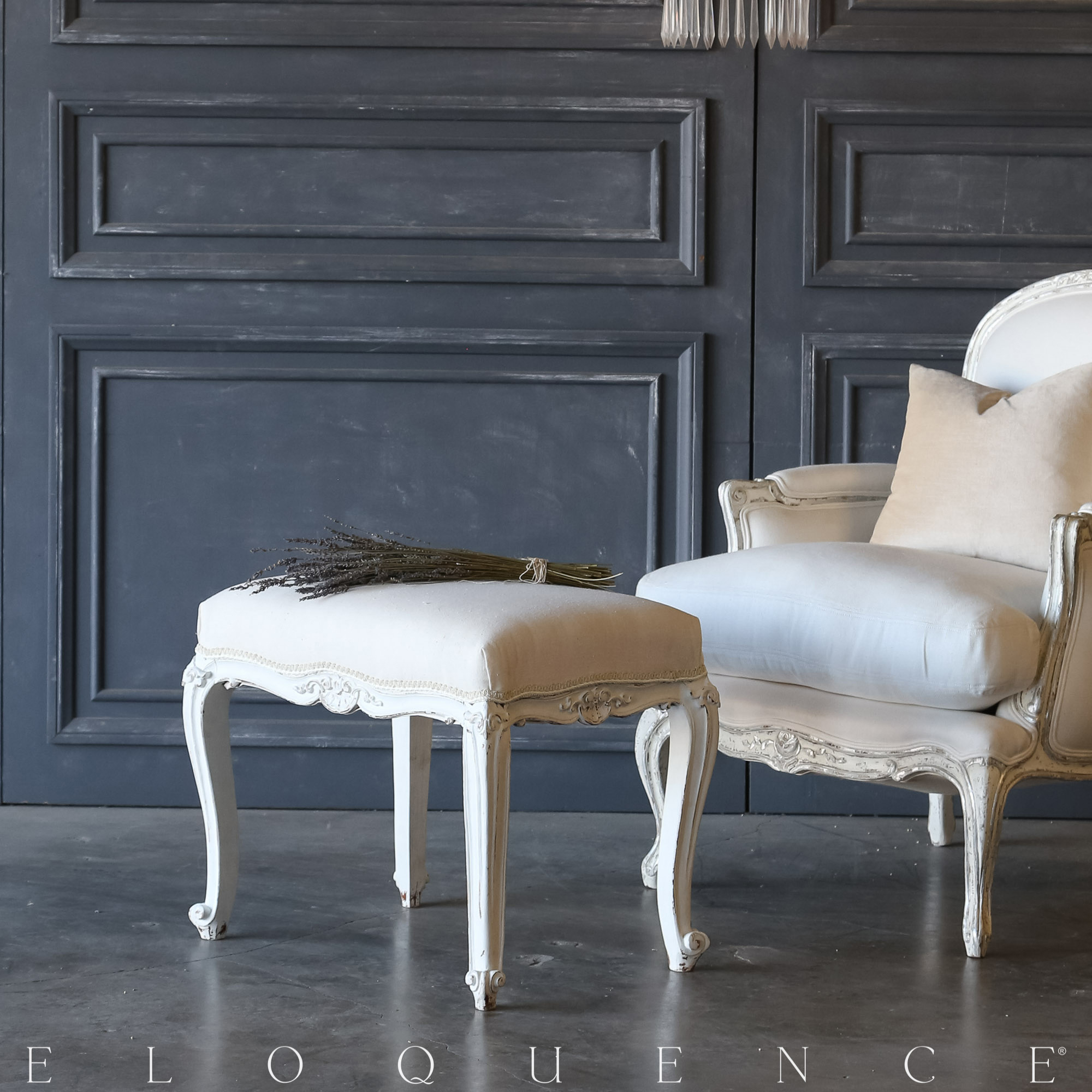 Eloquence® Vintage Carved Ivory Bench: 1940