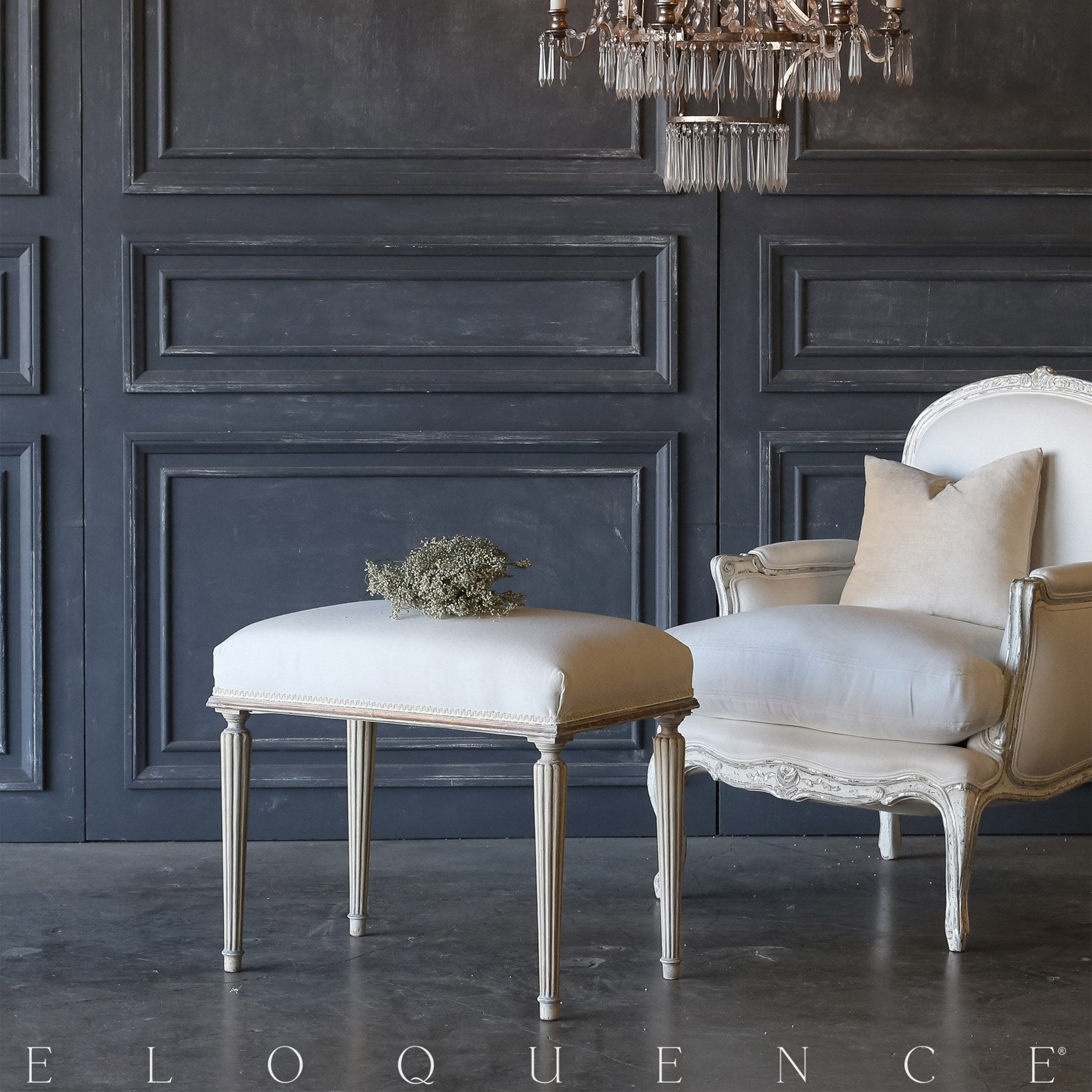 Eloquence® Vintage Antique White Louis Bench: 1940