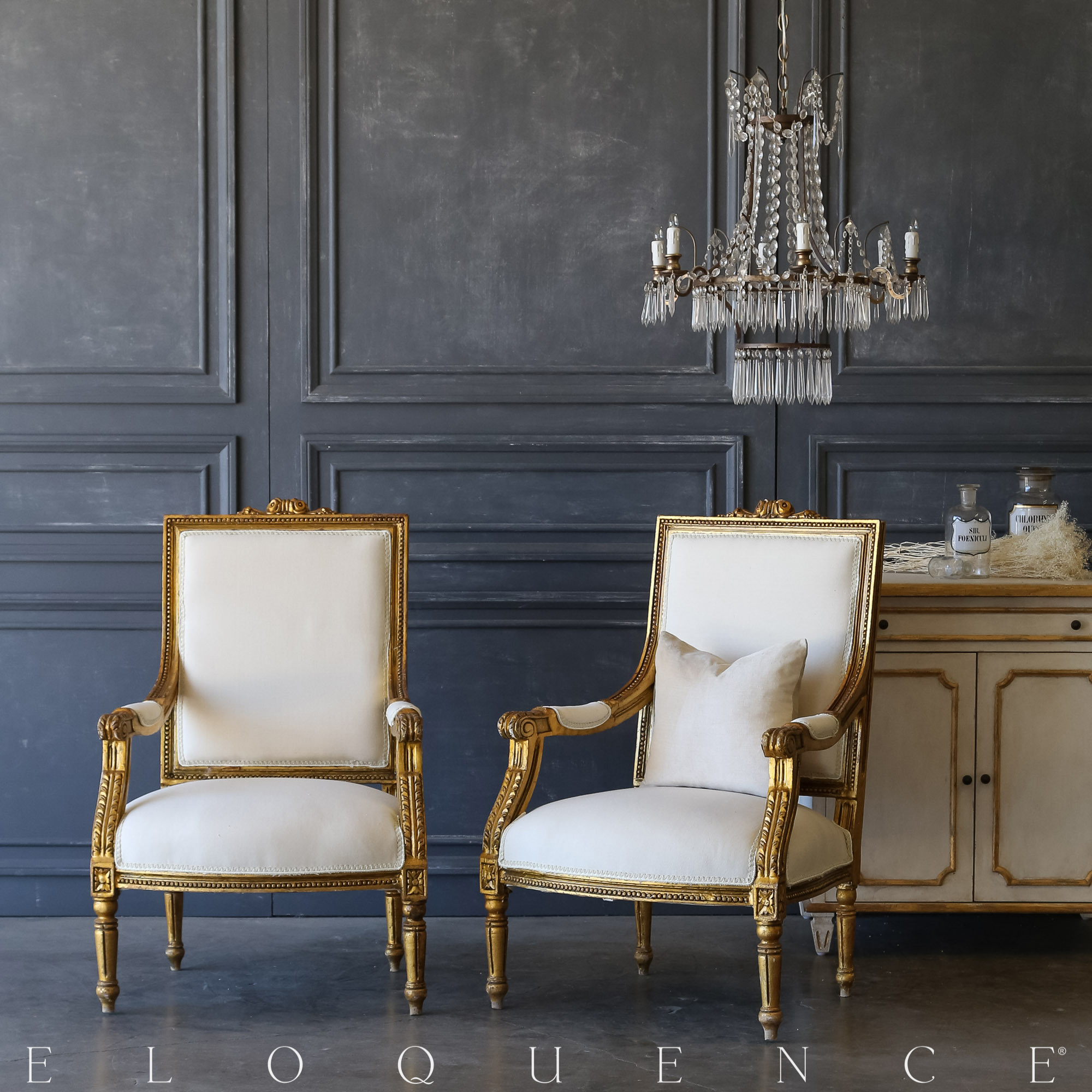 Eloquence® Pair of Vintage Gilded Armchairs: 1940