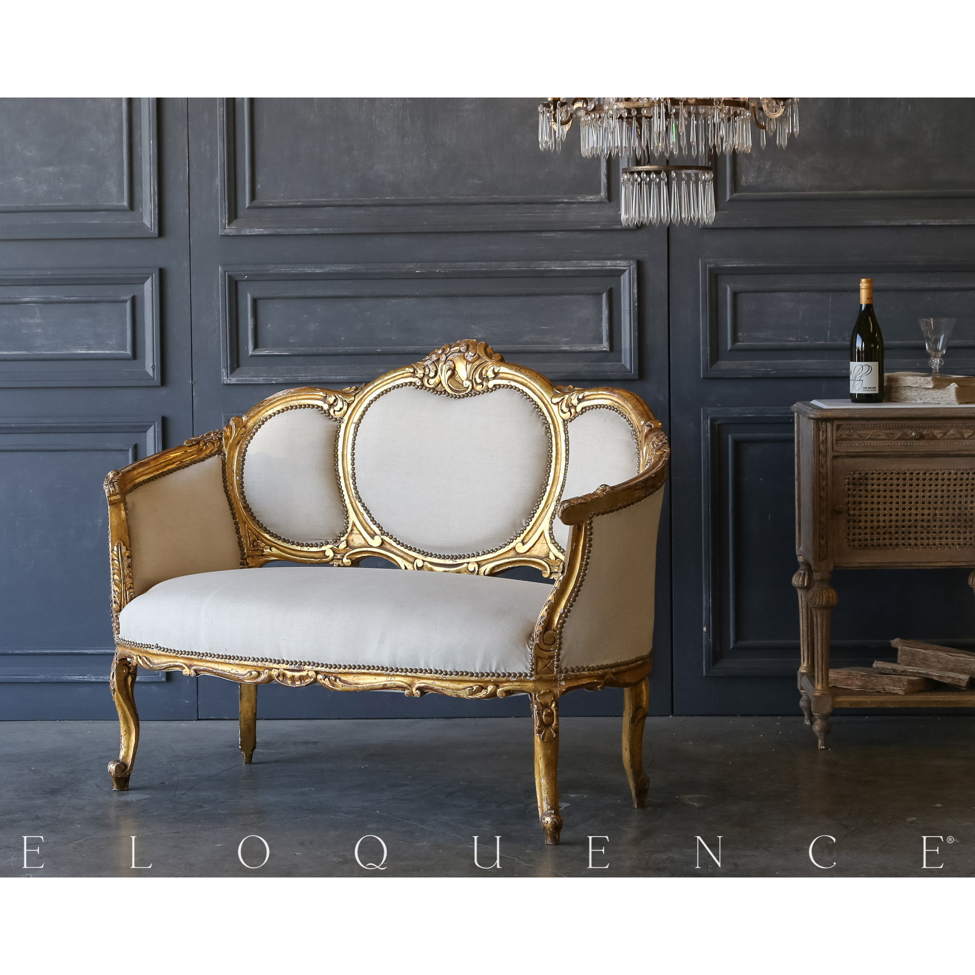 Eloquence® Vintage Gilded Medallion Settee: 1940