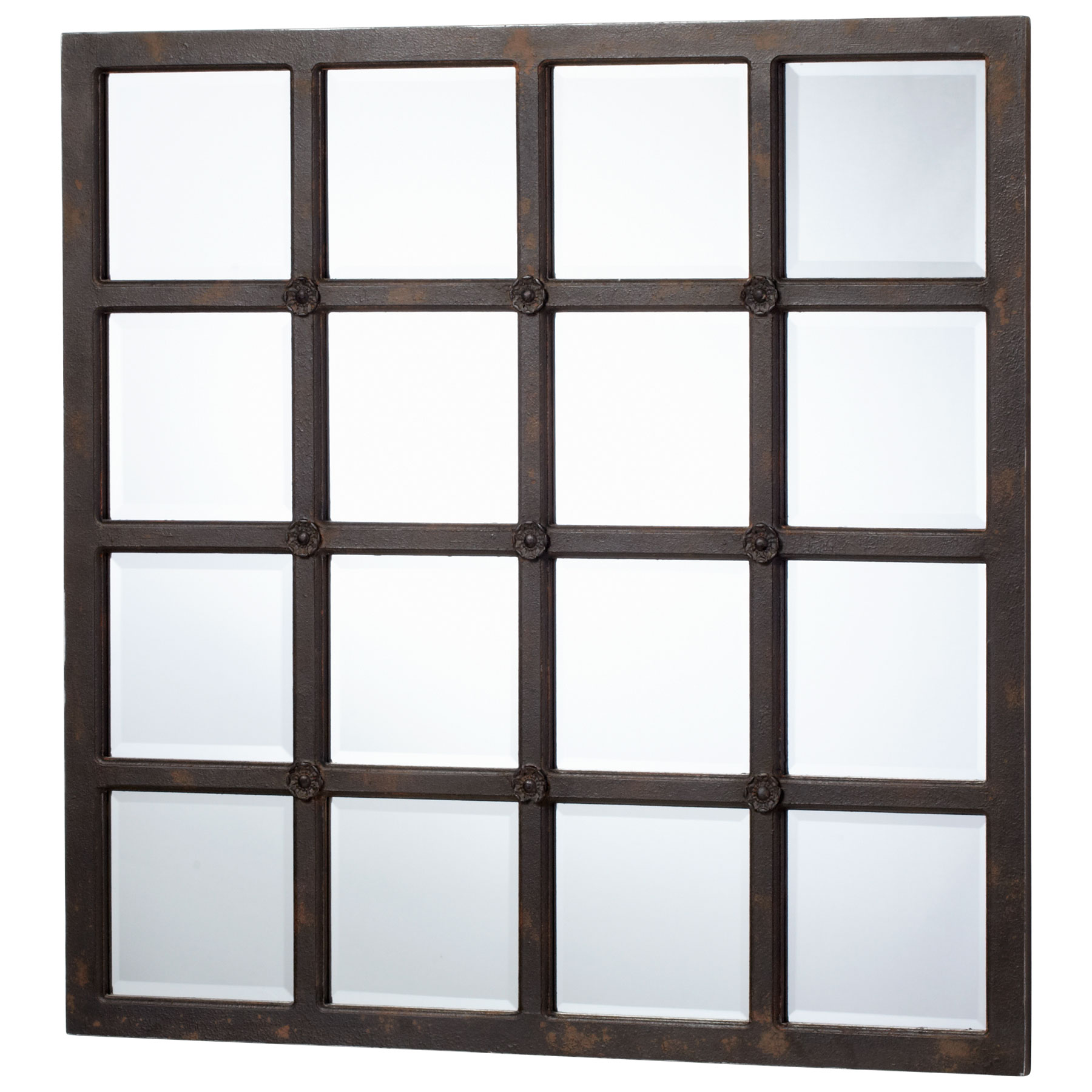 Chisum industrial loft large 48 iron square wall mirror for Big square wall mirror