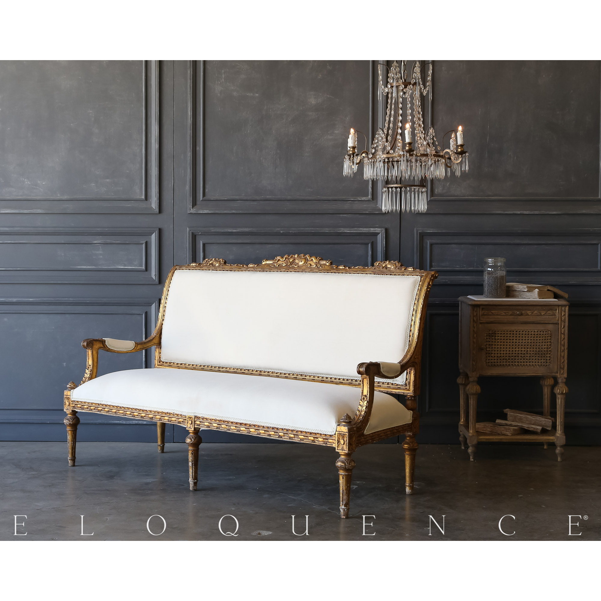 Eloquence® Vintage Viola Gilded Settee: 1940