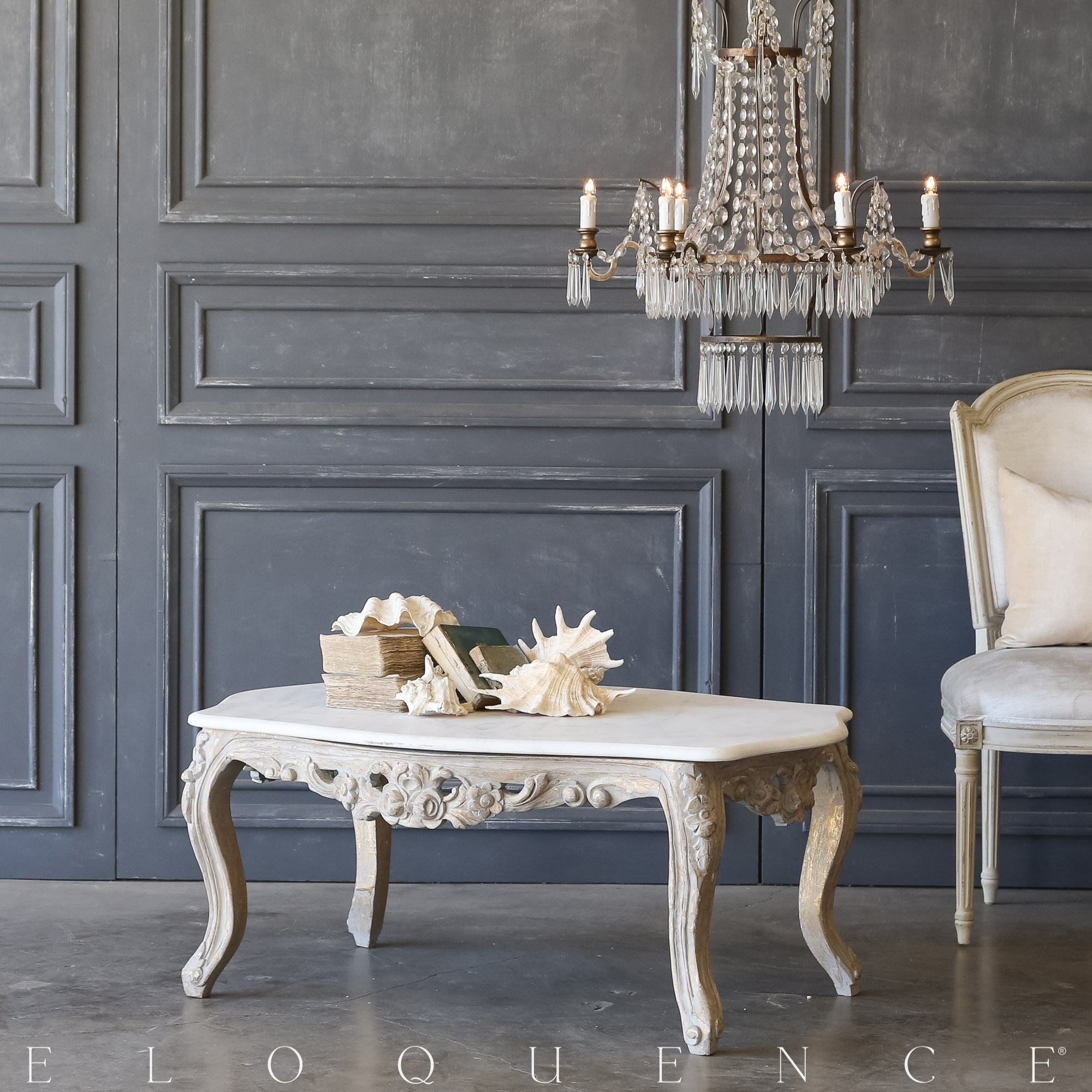 Eloquence® Vintage Grey Gilt Coffee Table: 1940