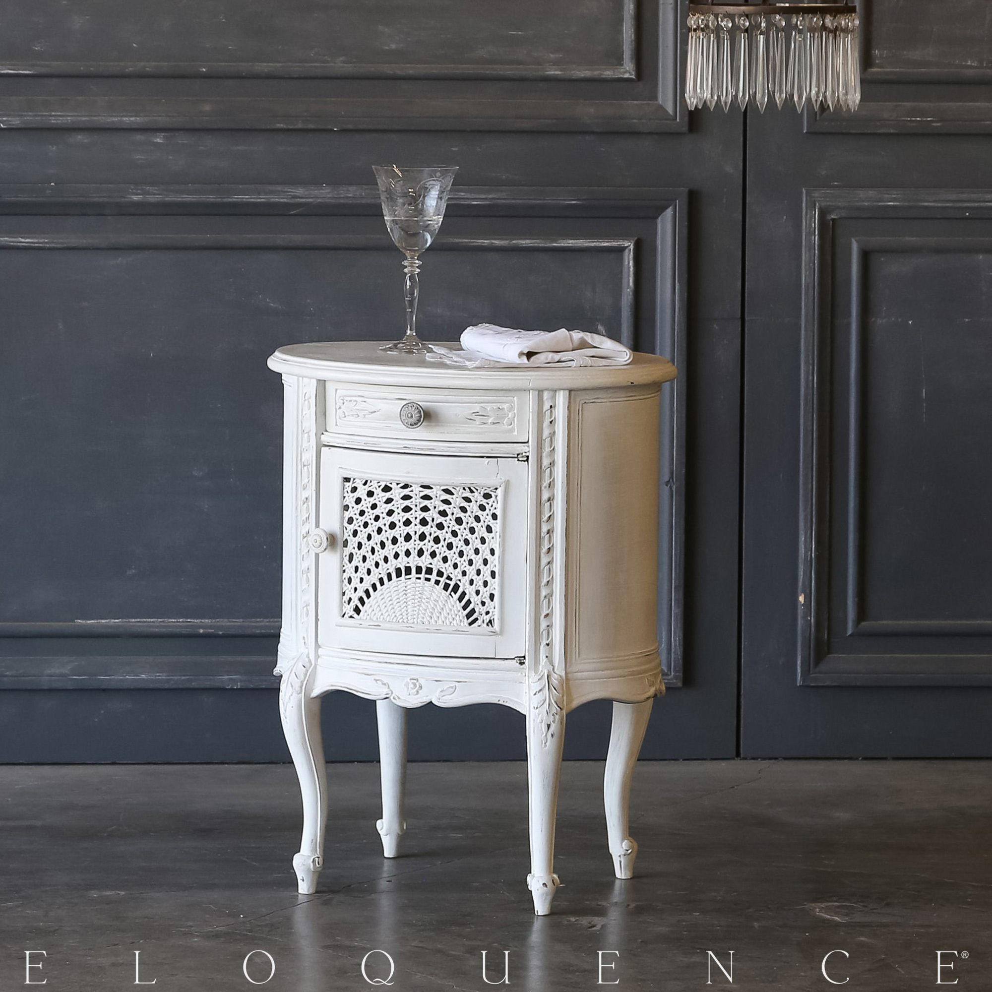 Eloquence® Single White Cane Vintage Nightstand:1940