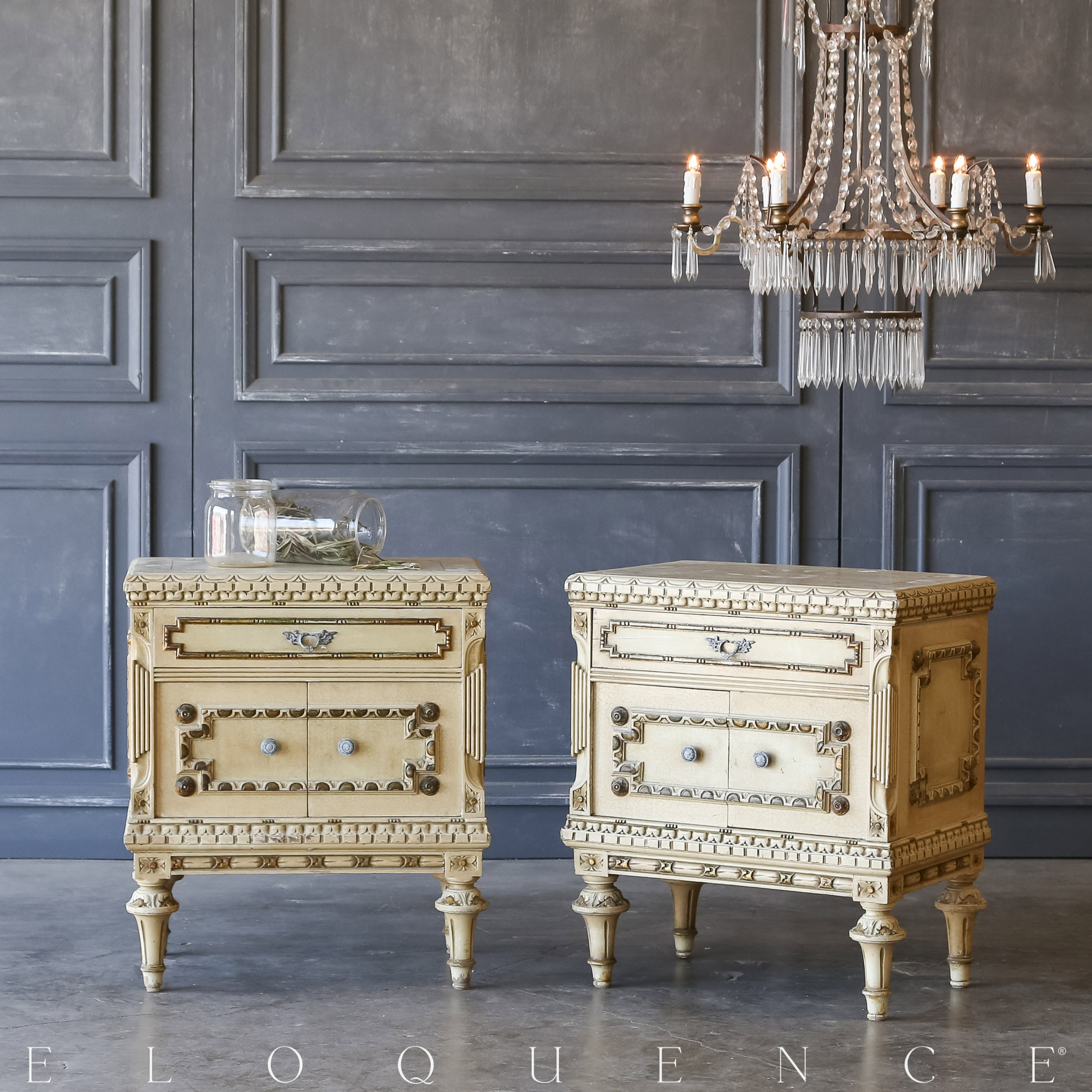 Eloquence® Pair of Vintage Crackled Louis Nightstands: 1940