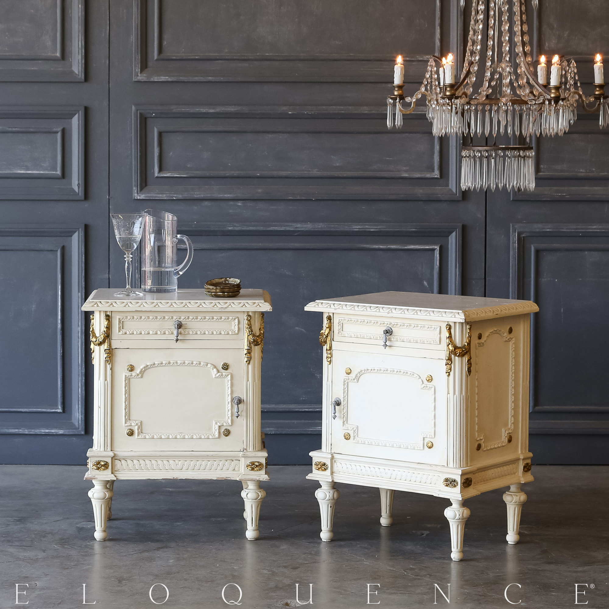 Eloquence® Pair of Vintage Gilt Garland Nightstands: 1940