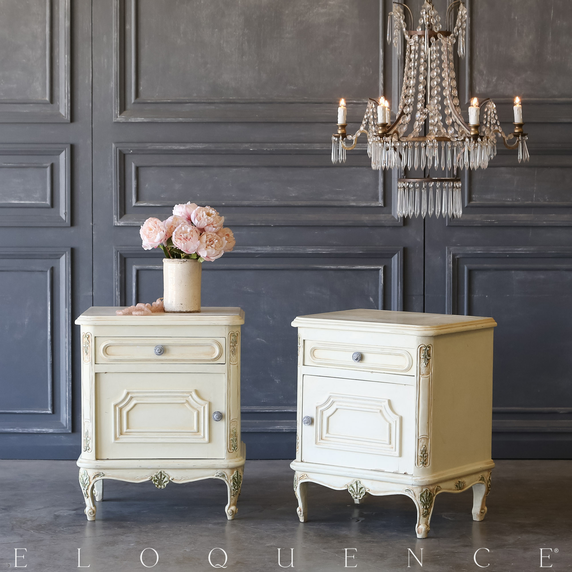 Eloquence® Pair of Vintage Buttercream Nightstands: 1940