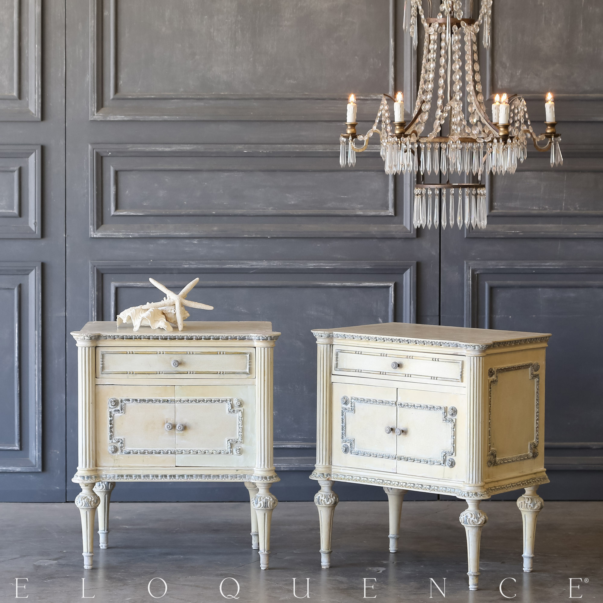 Eloquence® Pair of Vintage Pale Gold Nightstands: 1940