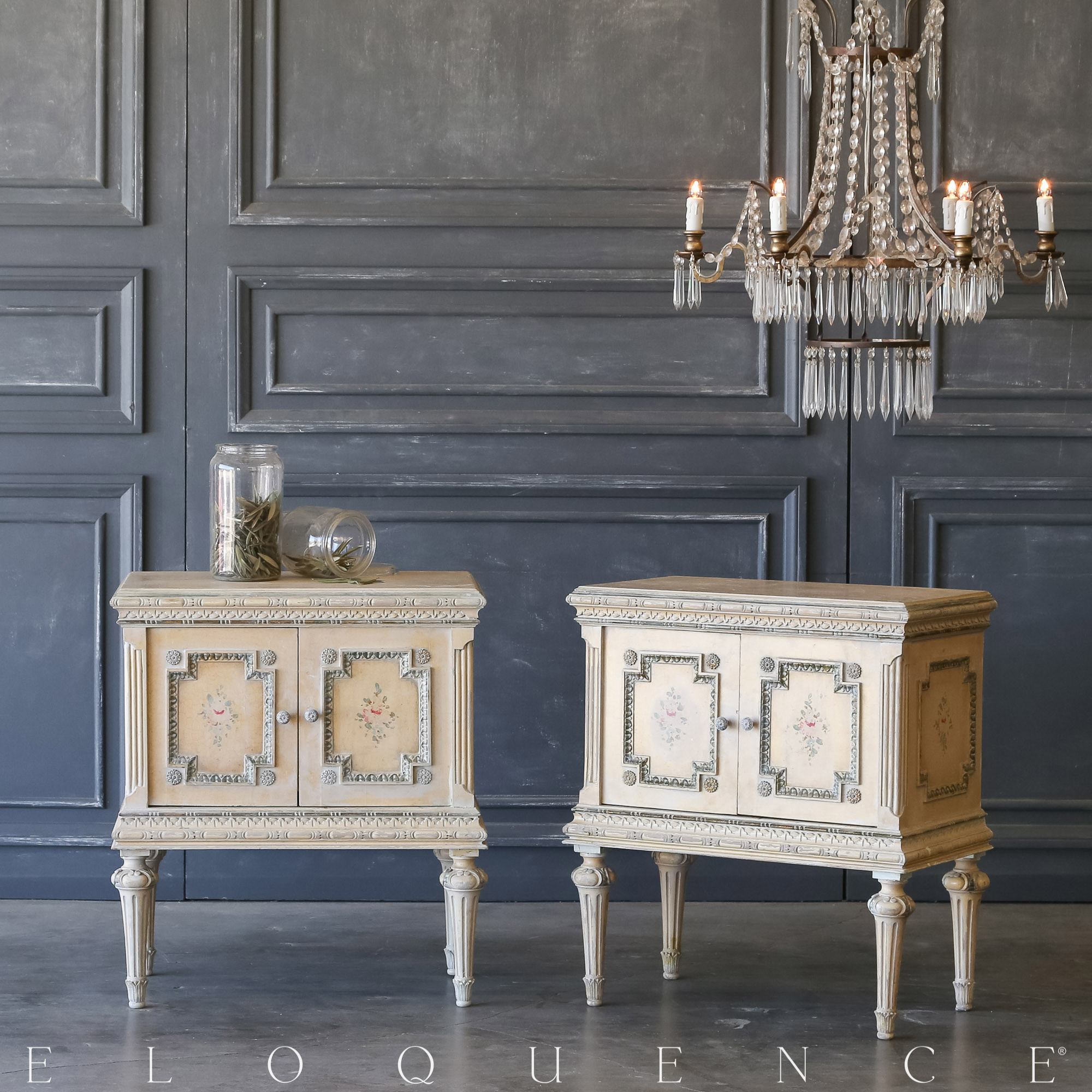 Eloquence® Pair of Vintage Floral Nightstands: 1940