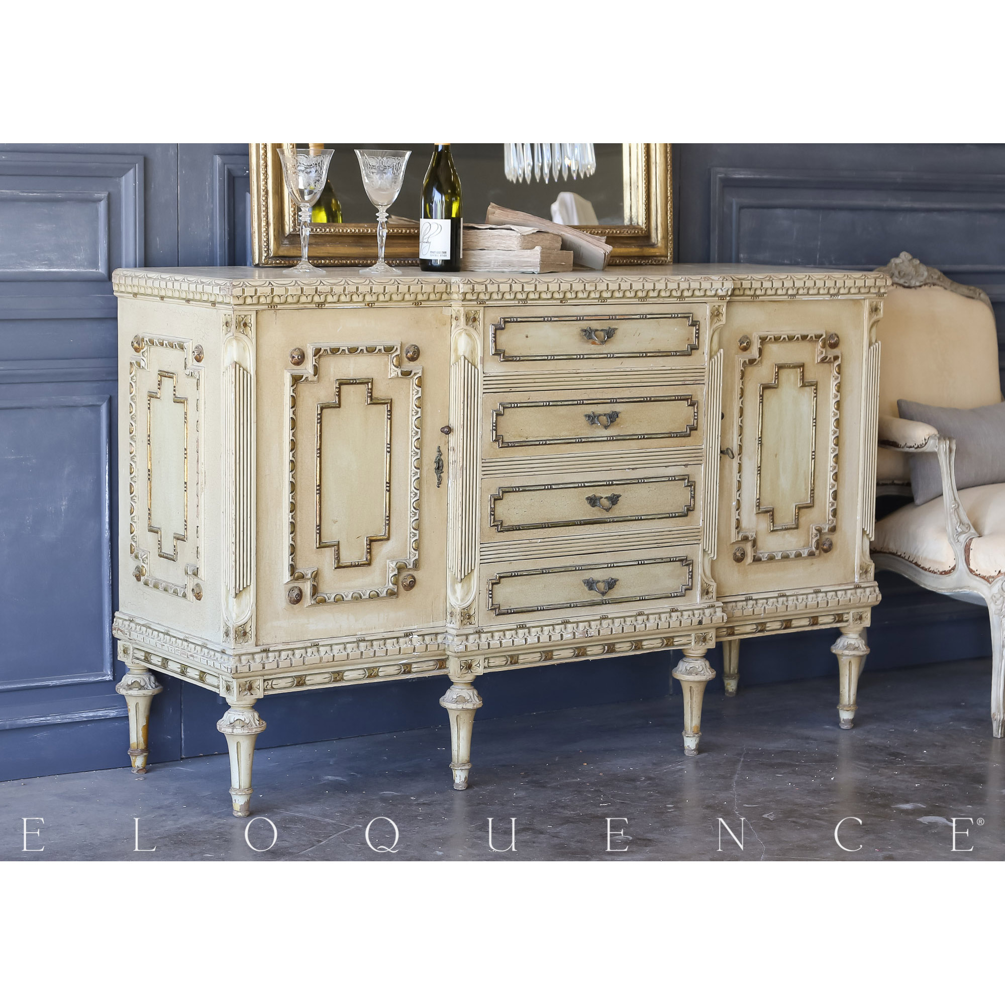 Eloquence® Vintage Dusty Gold Sideboard: 1940