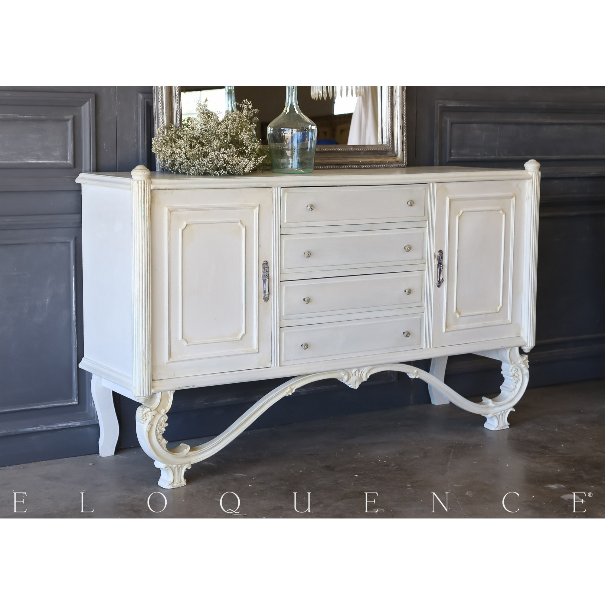 Eloquence® Vintage Arched Ivory Sideboard: 1940