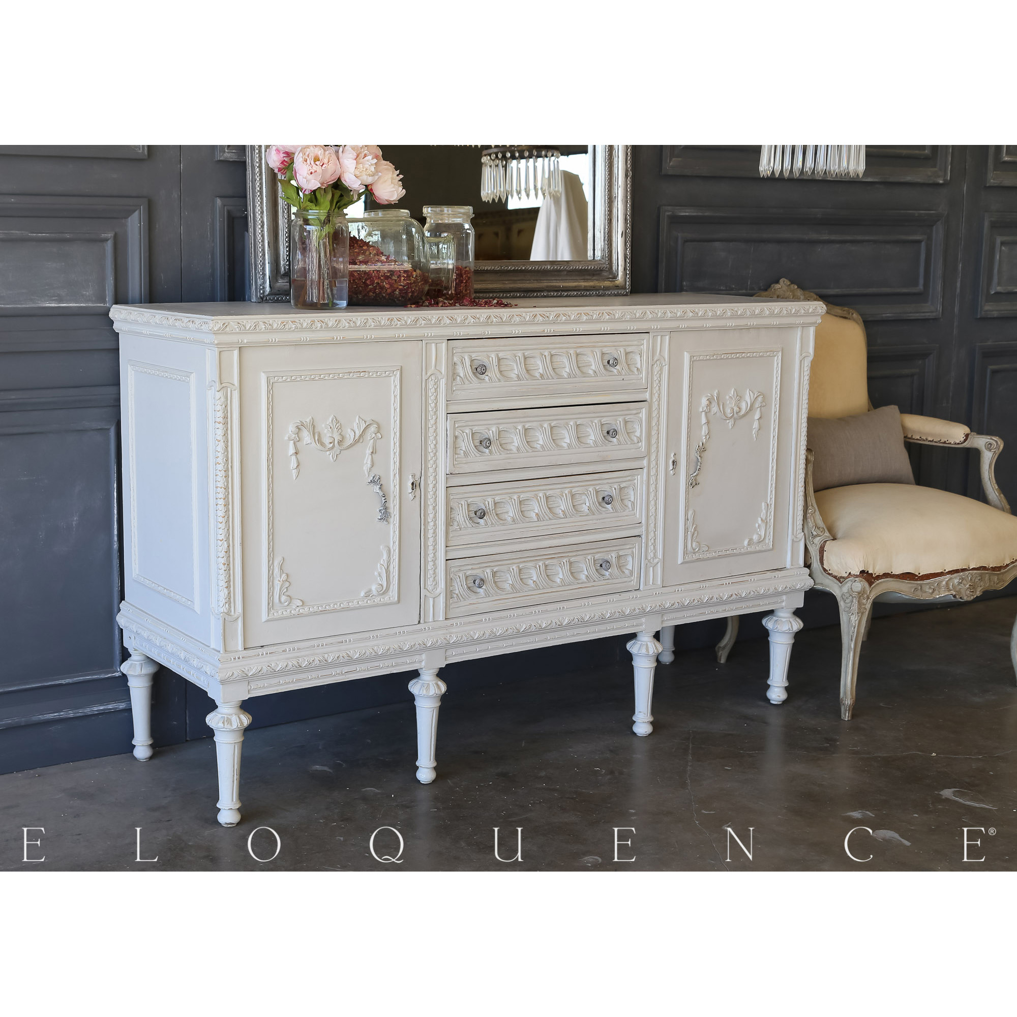 Eloquence® Vintage Braided French Grey Sideboard: 1940