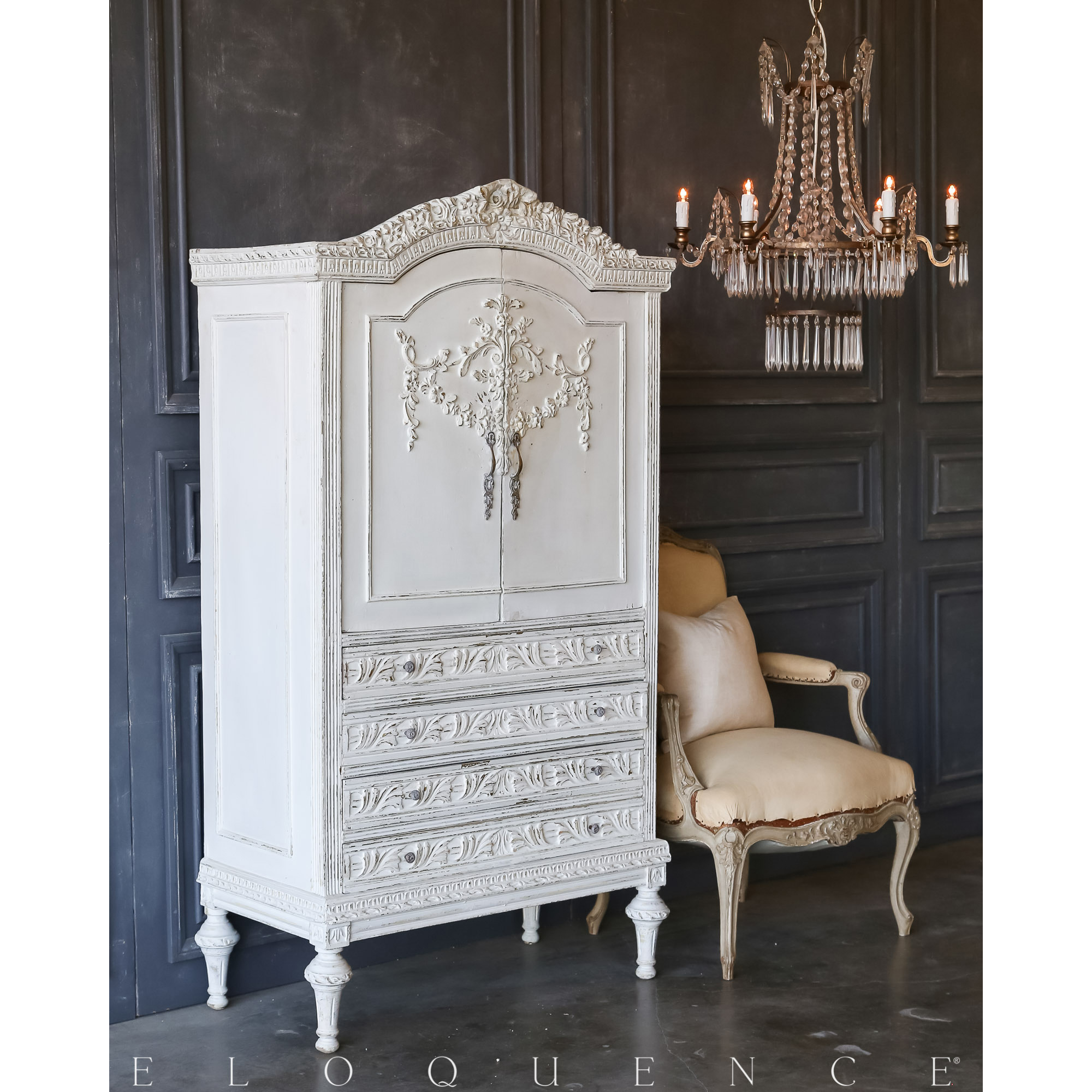Eloquence® Vintage French Grey Dressing Cabinet: 1940