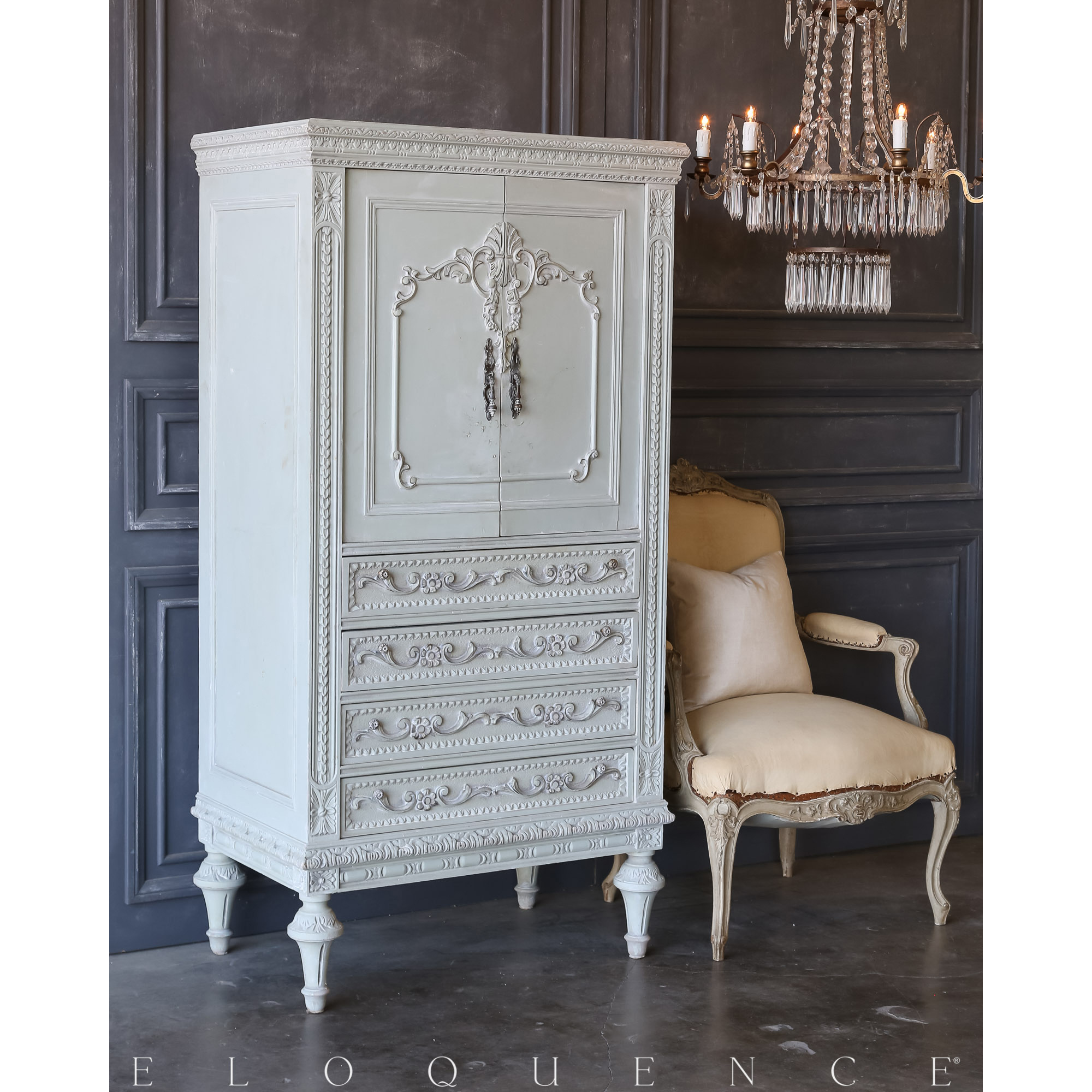 Eloquence® Vintage Pale Herb Dressing Cabinet: 1940