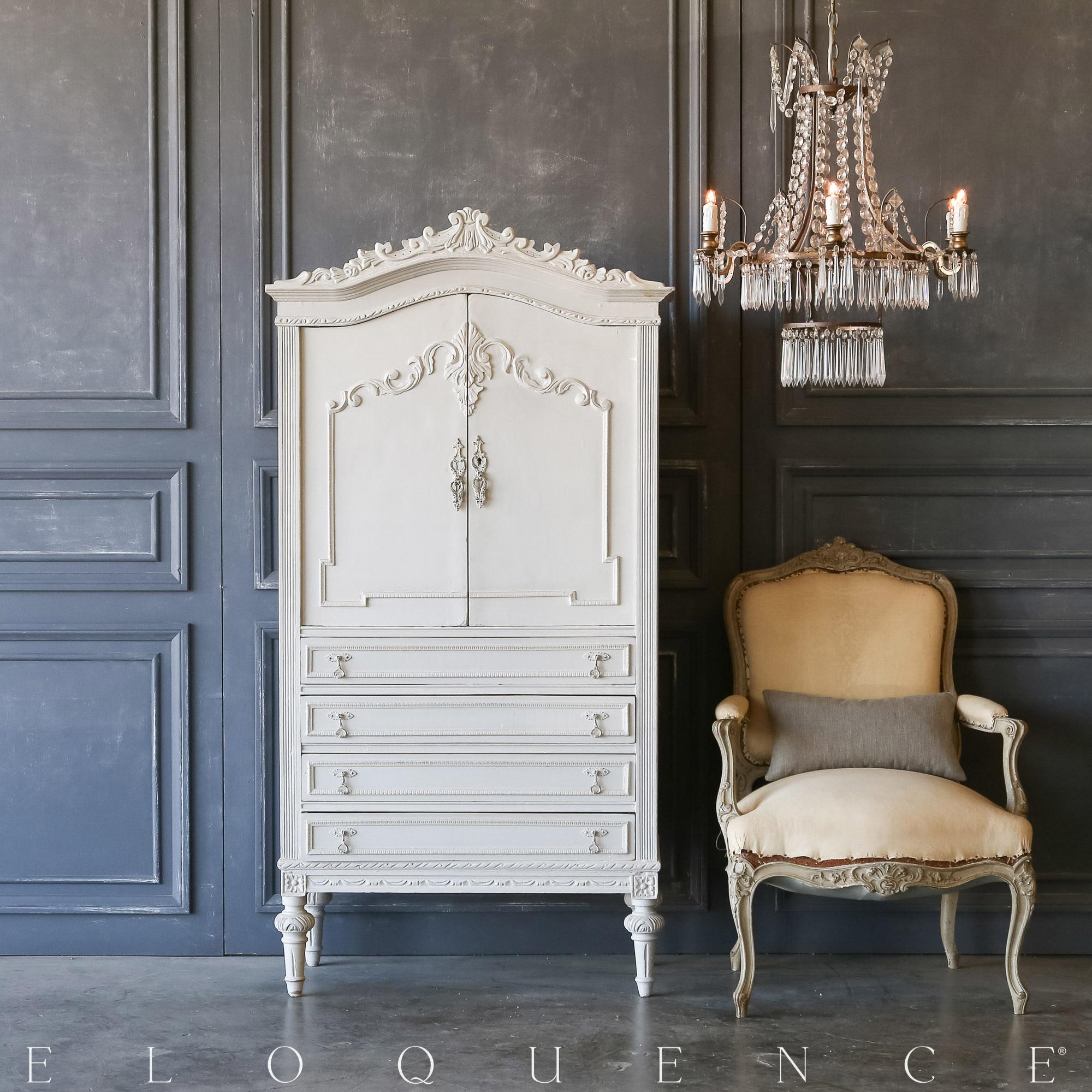 Eloquence® Vintage Ornate Grey Dressing Cabinet: 1940