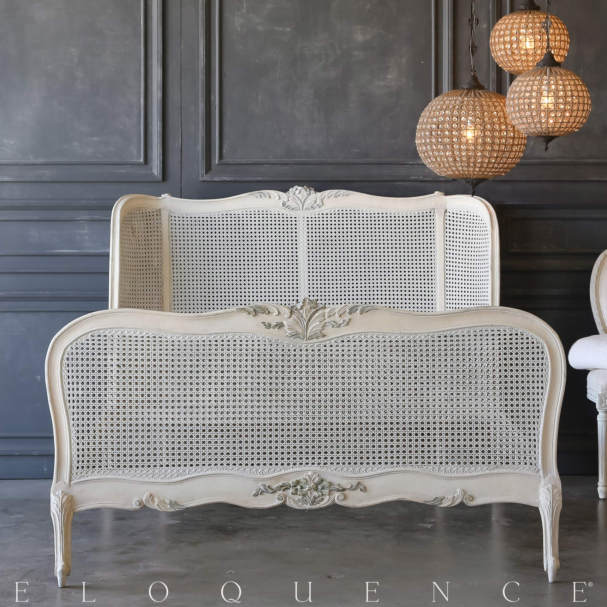 Eloquence® Vintage Peach White Cane Bed: 1940