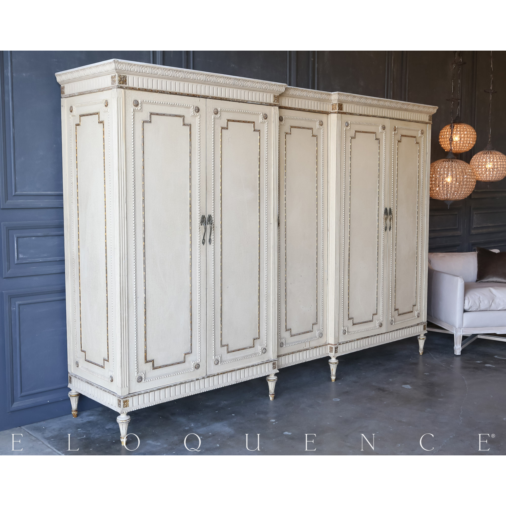 Eloquence® Vintage Distressed Cornsilk Armoire: 1940