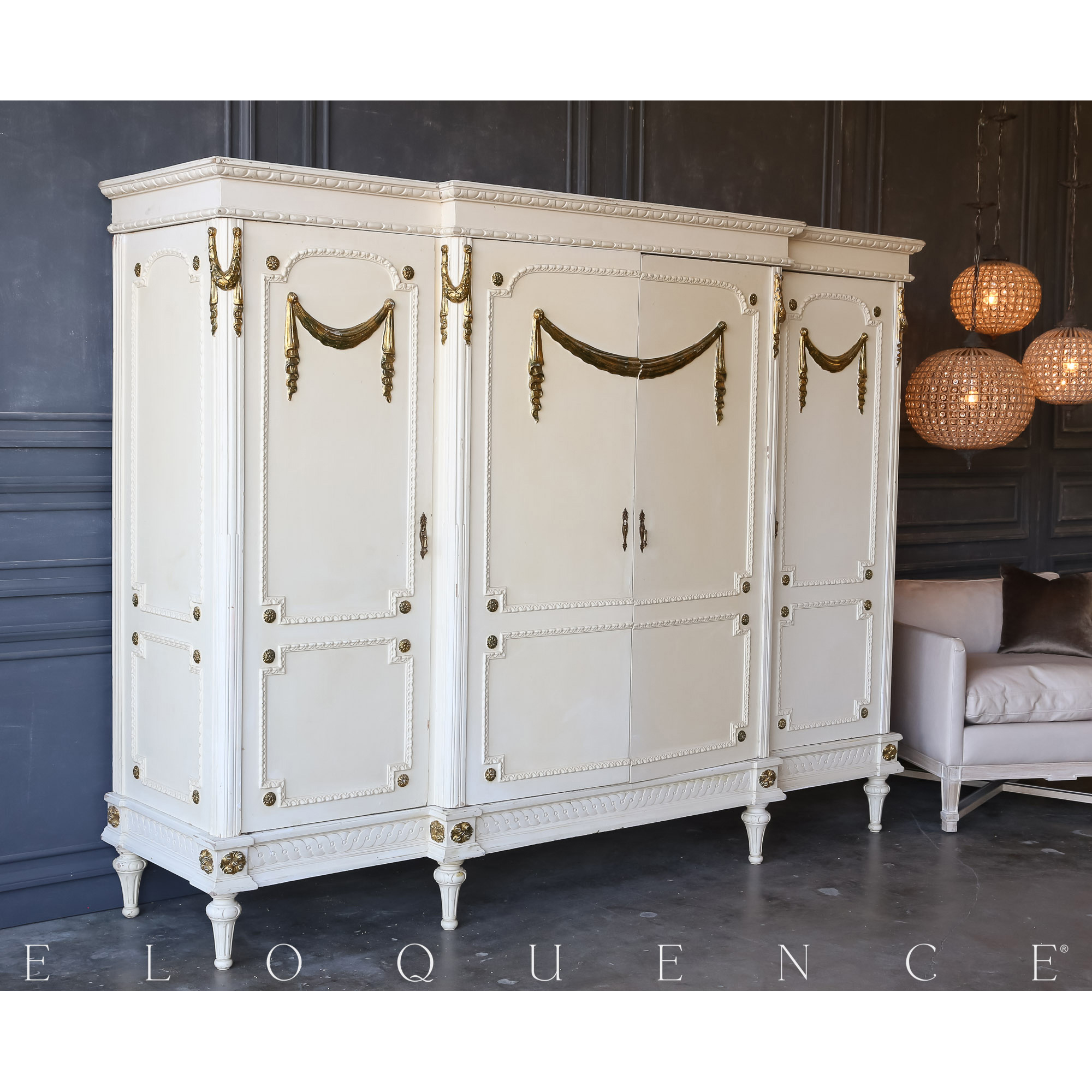 Eloquence® Vintage Gold Garland Large Armoire: 1940