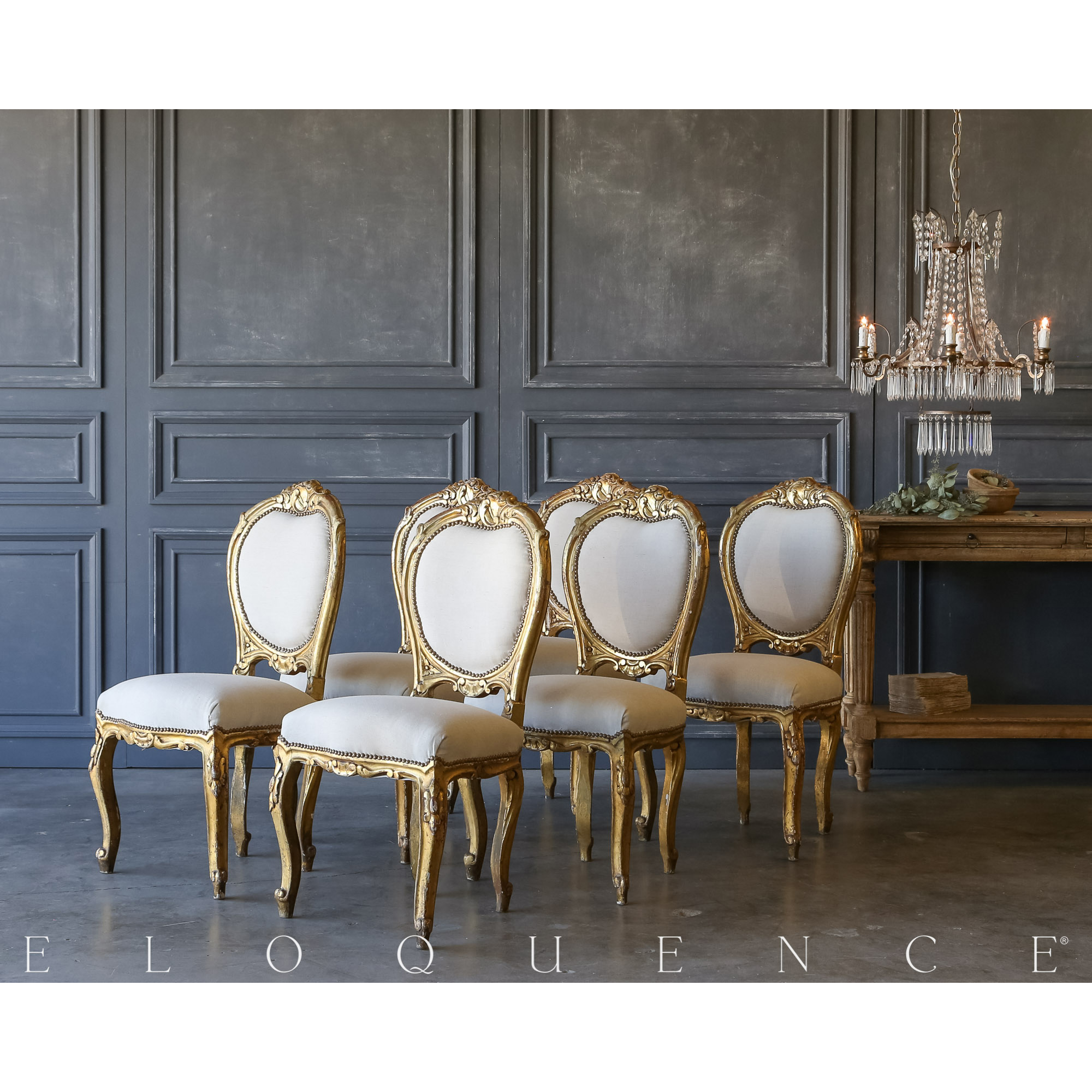 Eloquence® Set of 6 Vintage Gilded Side Chairs: 1940