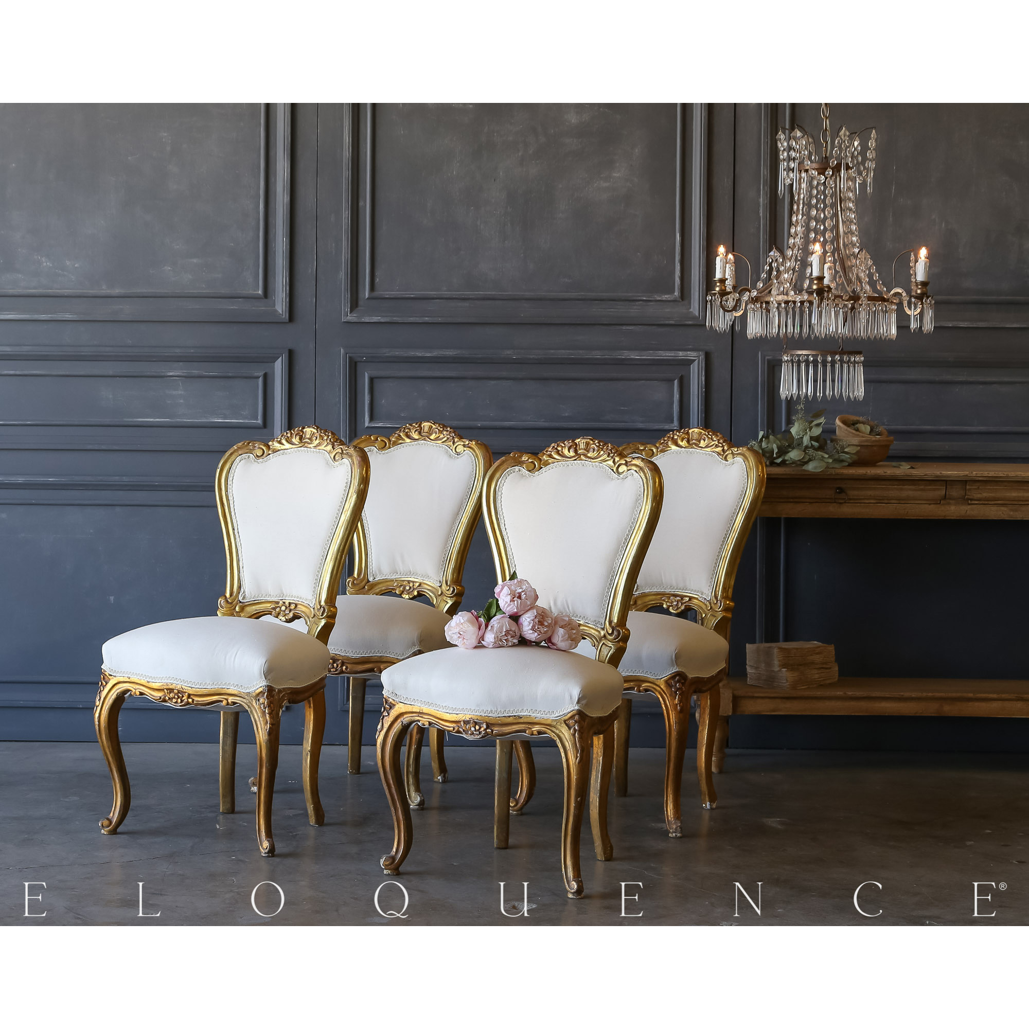 Eloquence® Set of 4 Vintage Gilt Side Chairs: 1940