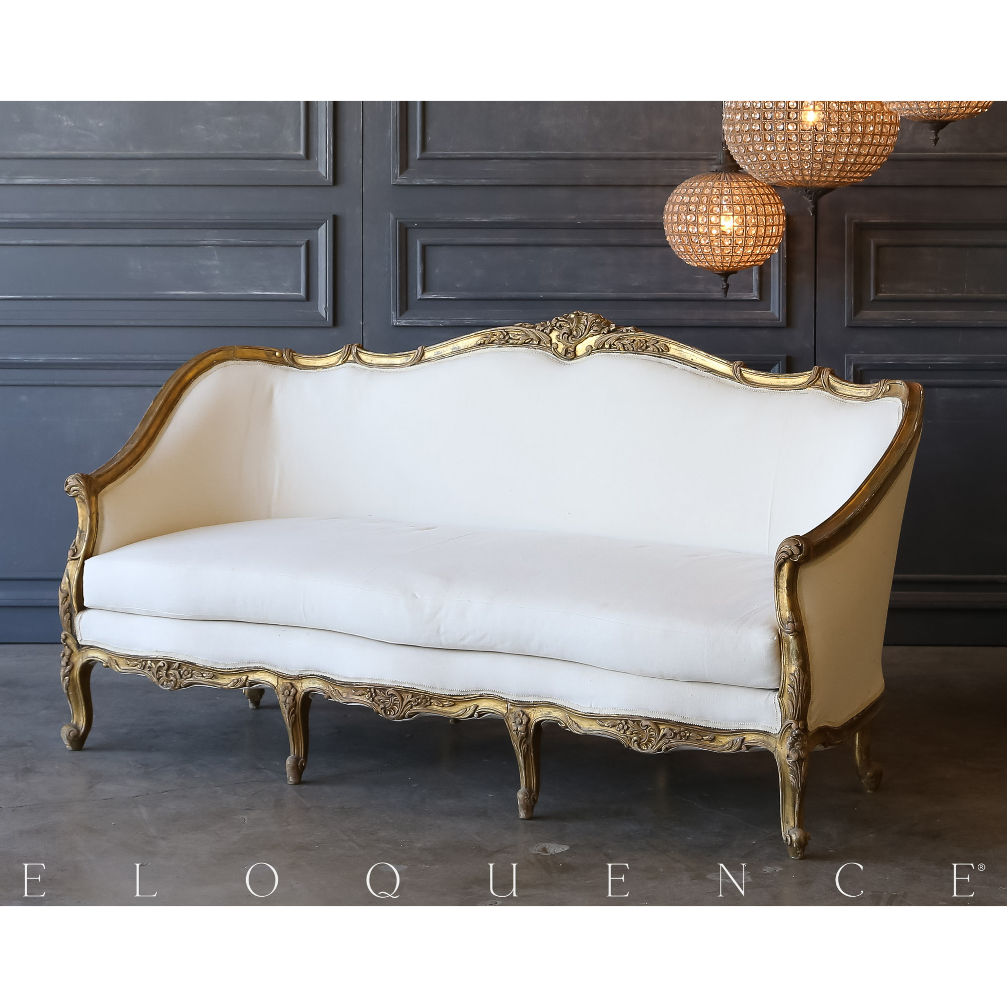 Eloquence® Vintage Distressed Gilt Daybed: 1940