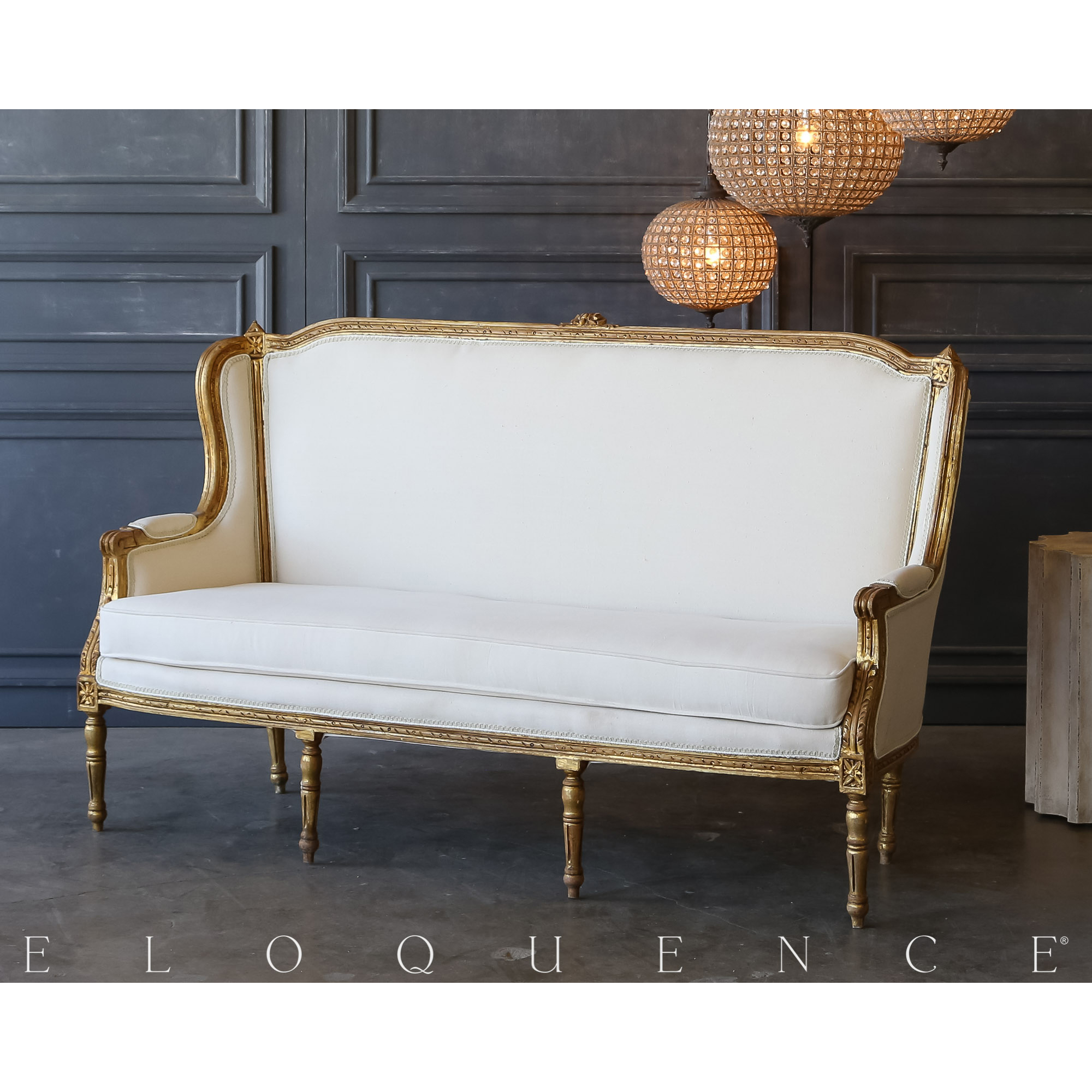 Eloquence® Vintage Bright Gold Louis Settee: 1940