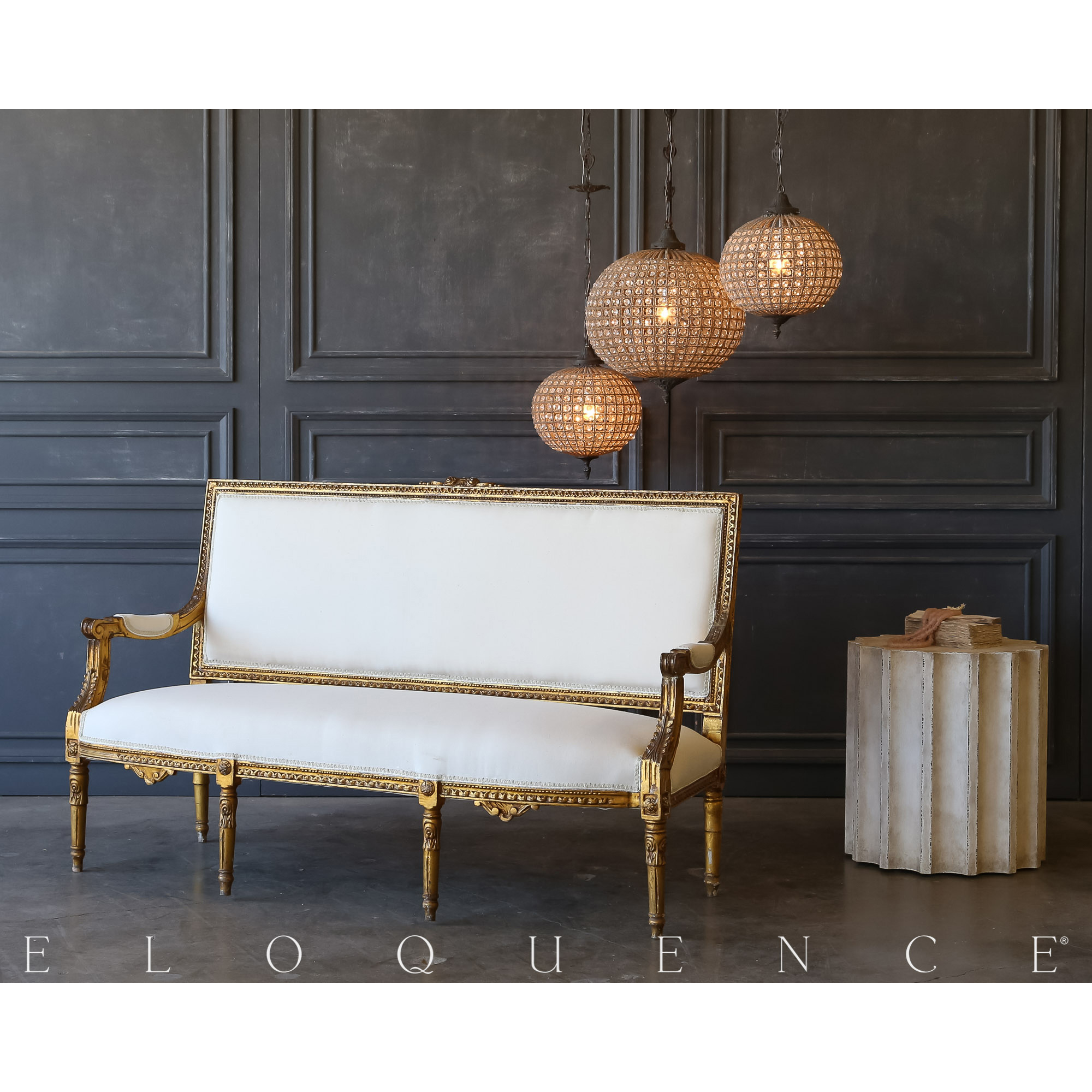 Eloquence® Vintage Antique Gilt Settee: 1940