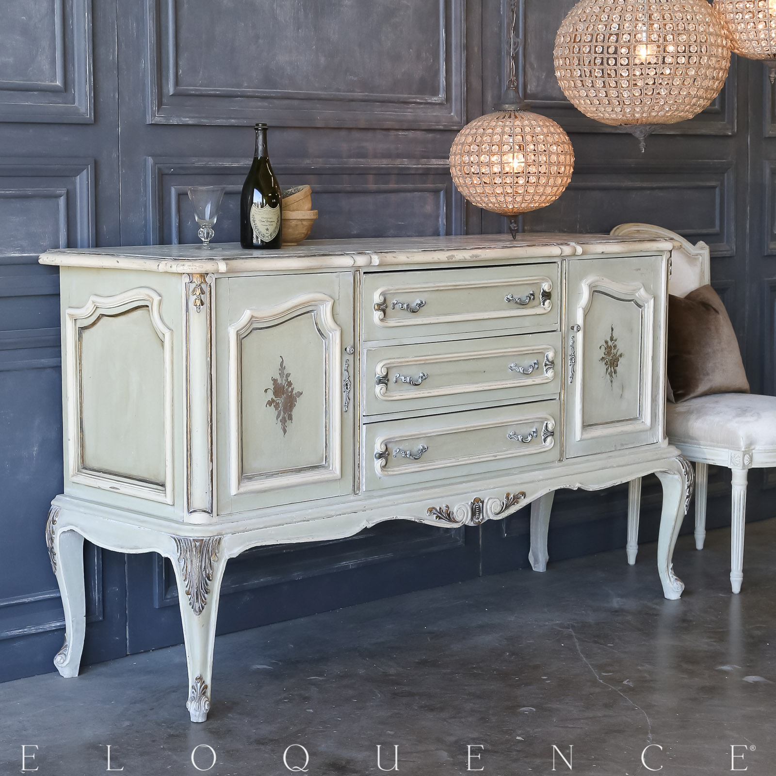Eloquence® Vintage Pale Green Sideboard: 1940