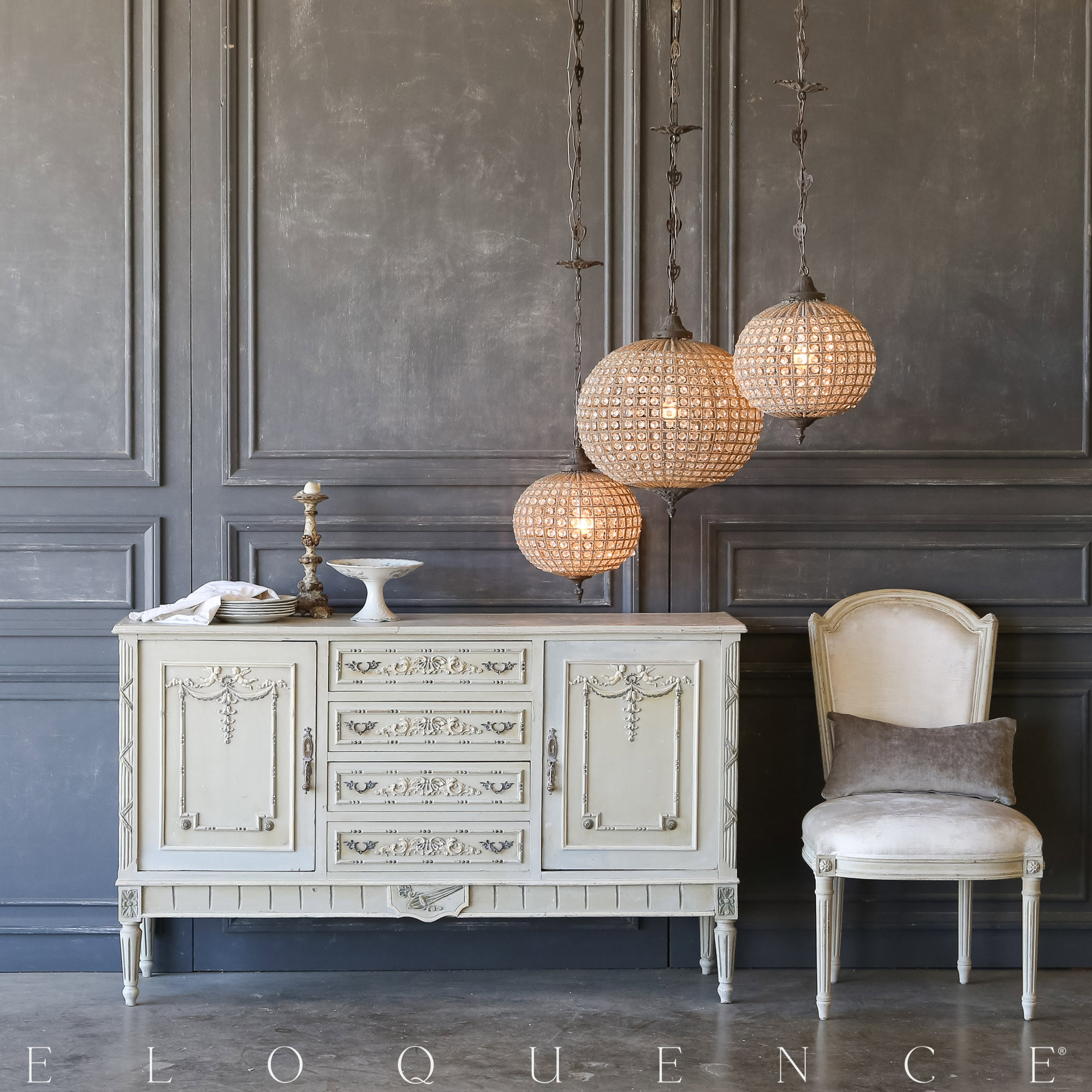 Eloquence® Vintage French Blue Sideboard: 1940