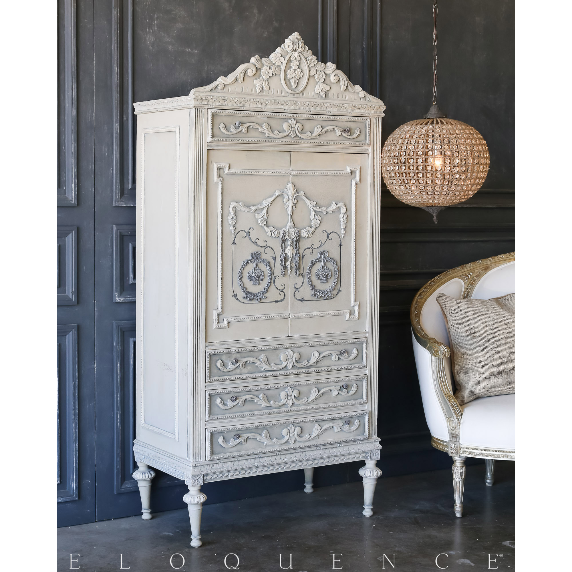 Eloquence® Vintage Grey Pale Blue Armoire: 1940