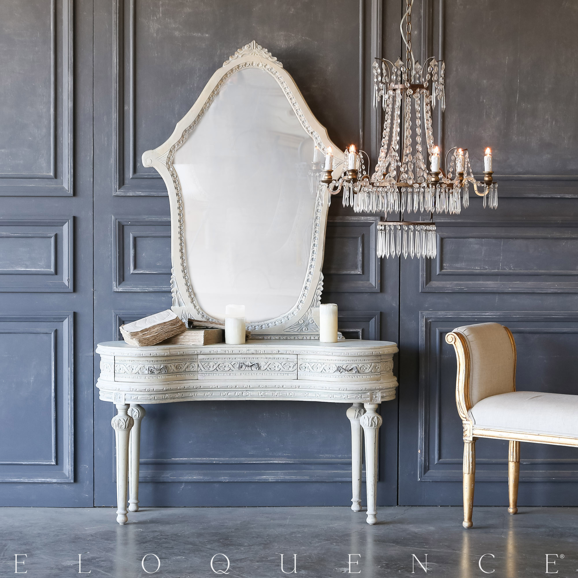 Eloquence® Vintage Chalk Blue Vanity with Mirror: 1940