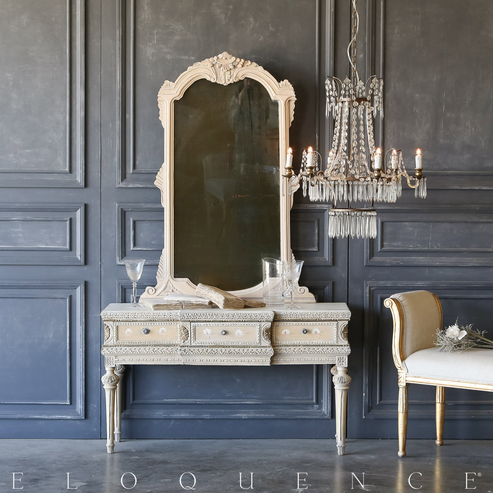 Eloquence® Vintage Floral Bisque Vanity with Mirror: 1940