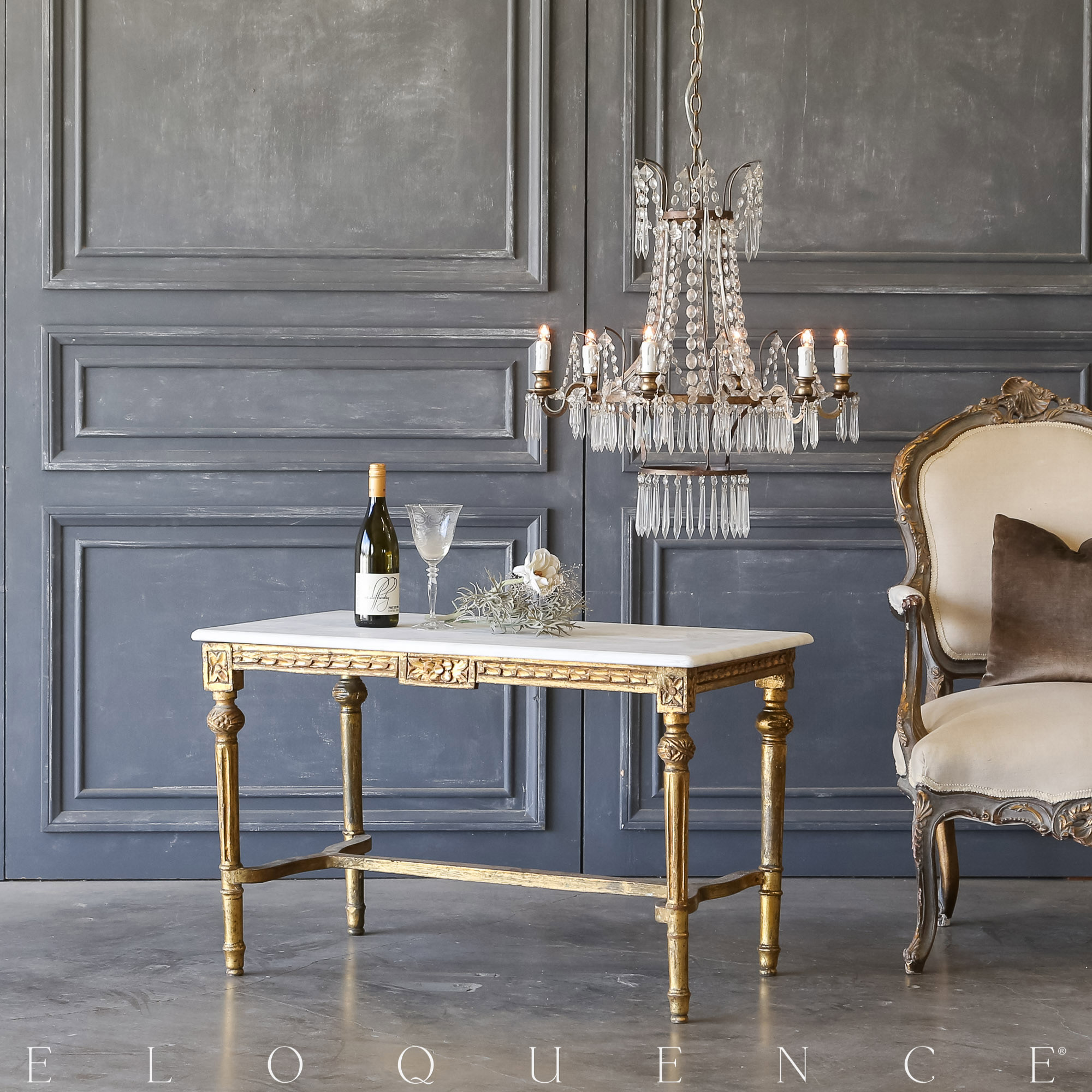 Eloquence® Vintage Gold Louis XVI Coffee Table: 1940