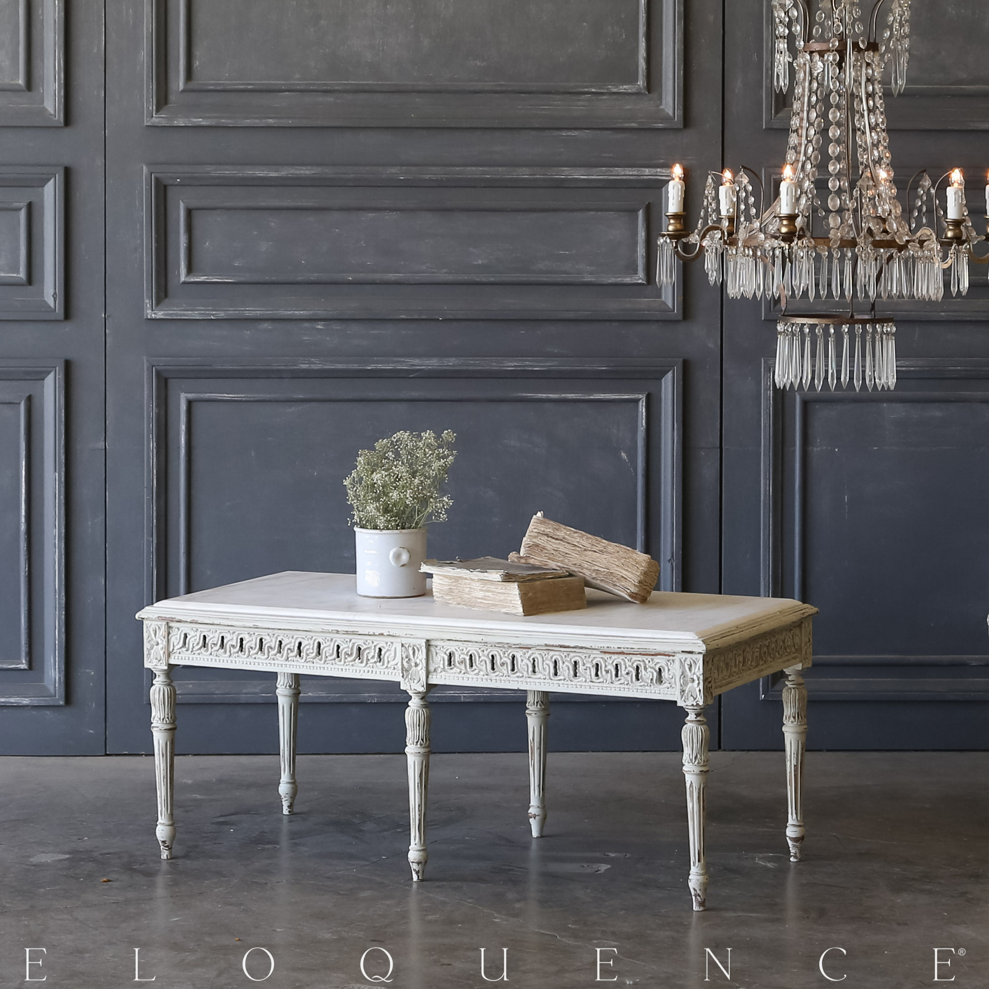 Eloquence® Vintage Rustic Pale Blue Coffee Table: 1940