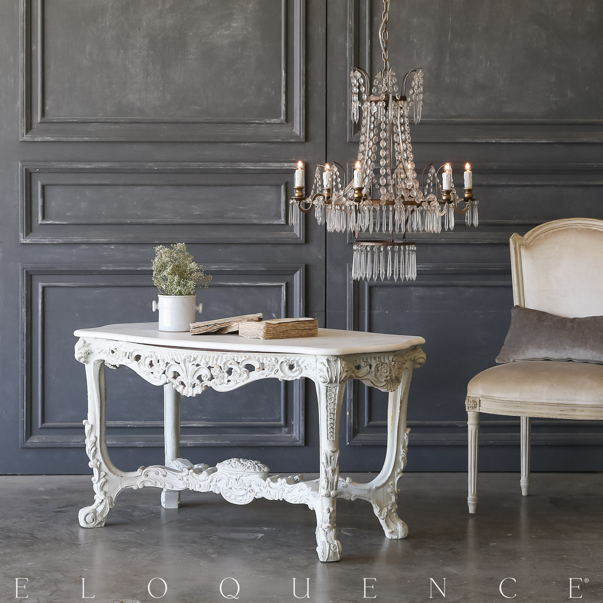 Eloquence® Vintage Ornate French Blue Coffee Table: 1940