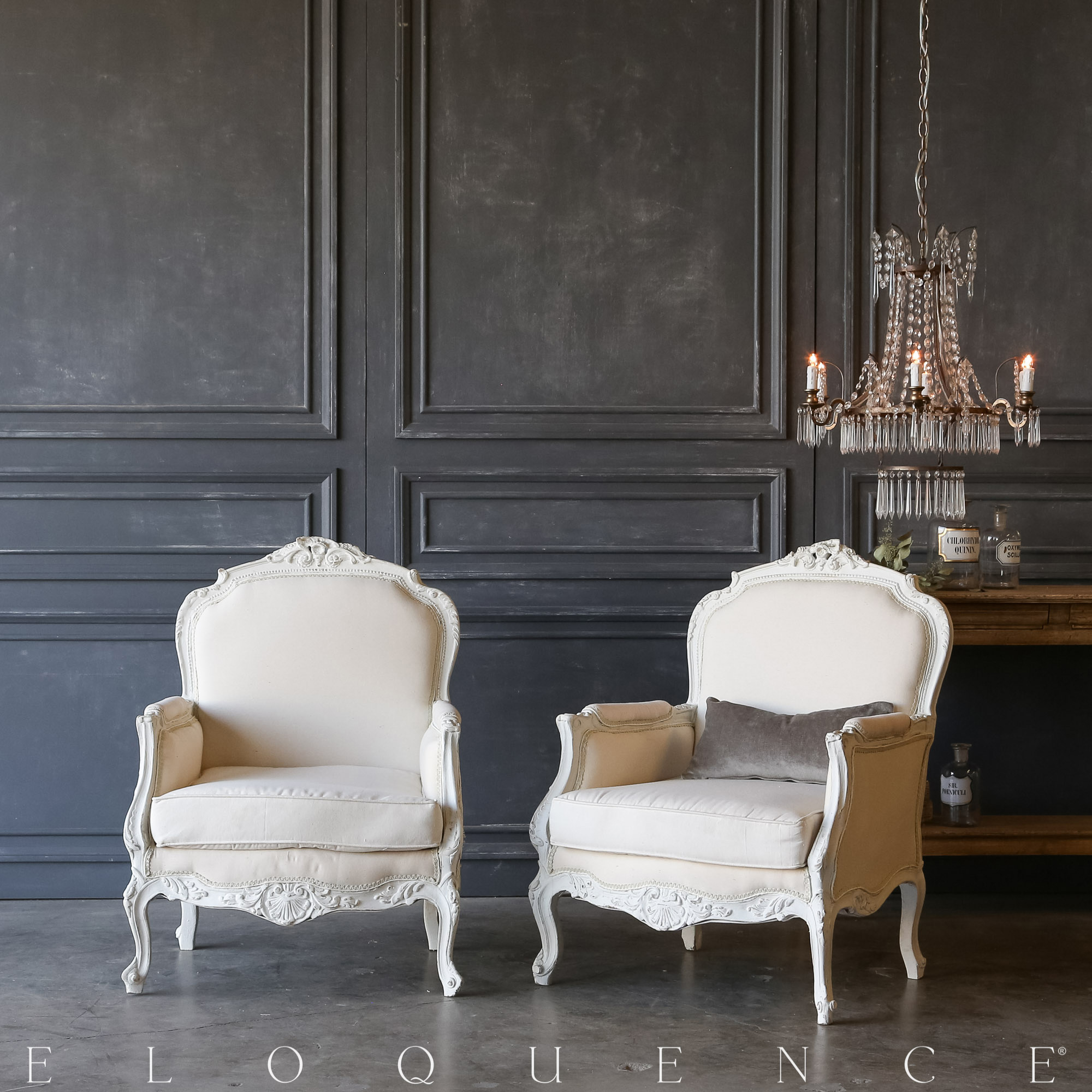 Eloquence® Pair of Vintage White Bergeres: 1940