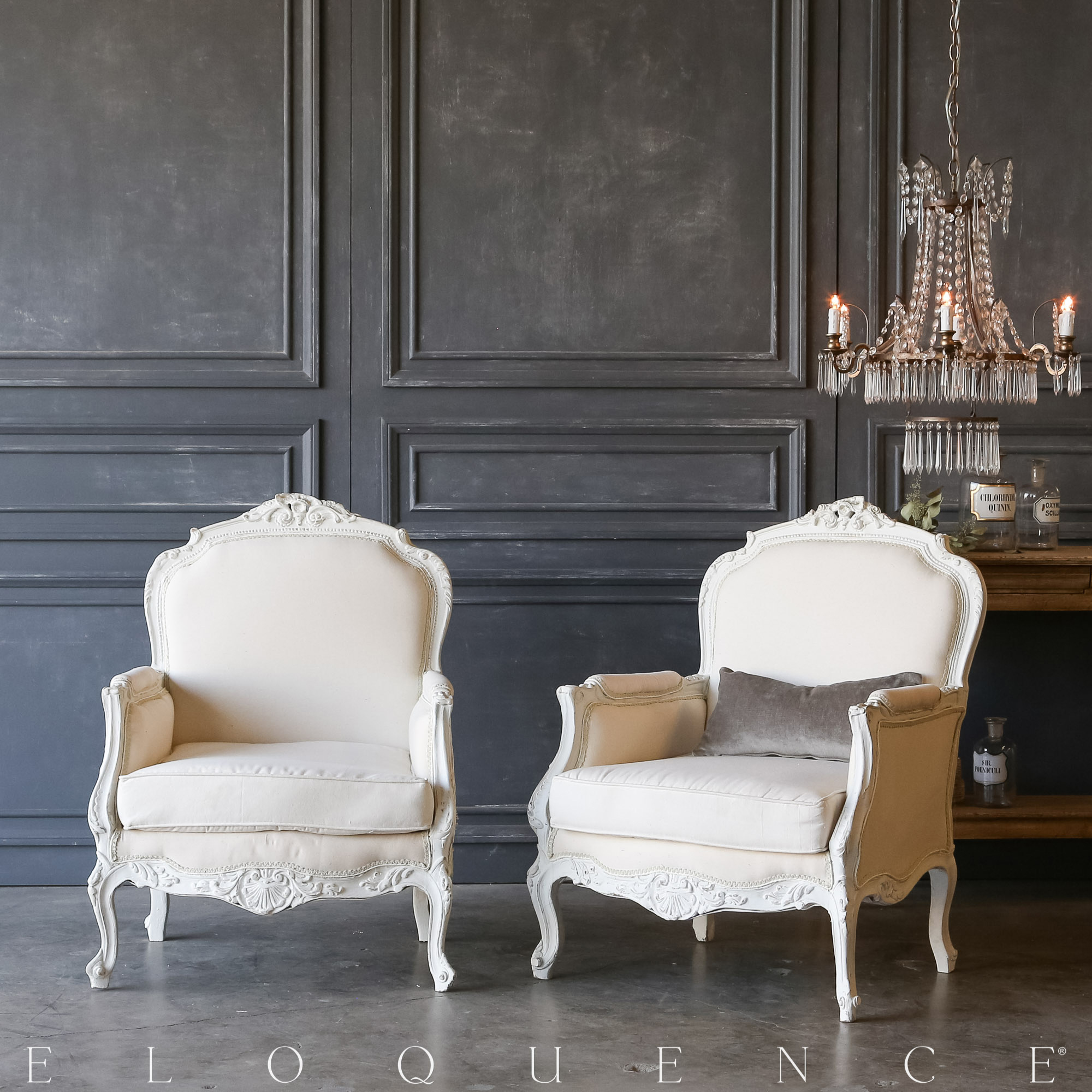 Eloquence® Pair of Vintage Cool White Bergeres: 1940